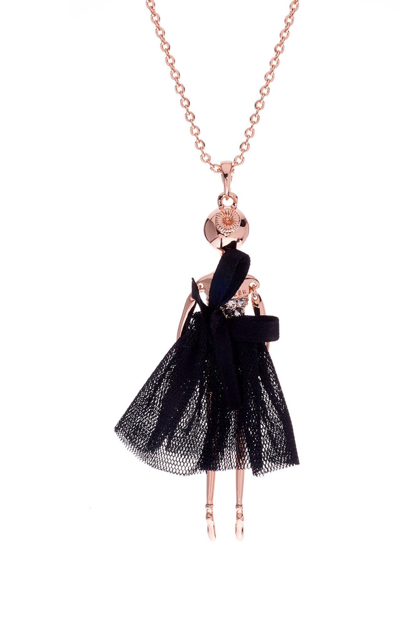 Bijou Ballerina Pendant Necklace,                             Alternate thumbnail 2, color,                             001