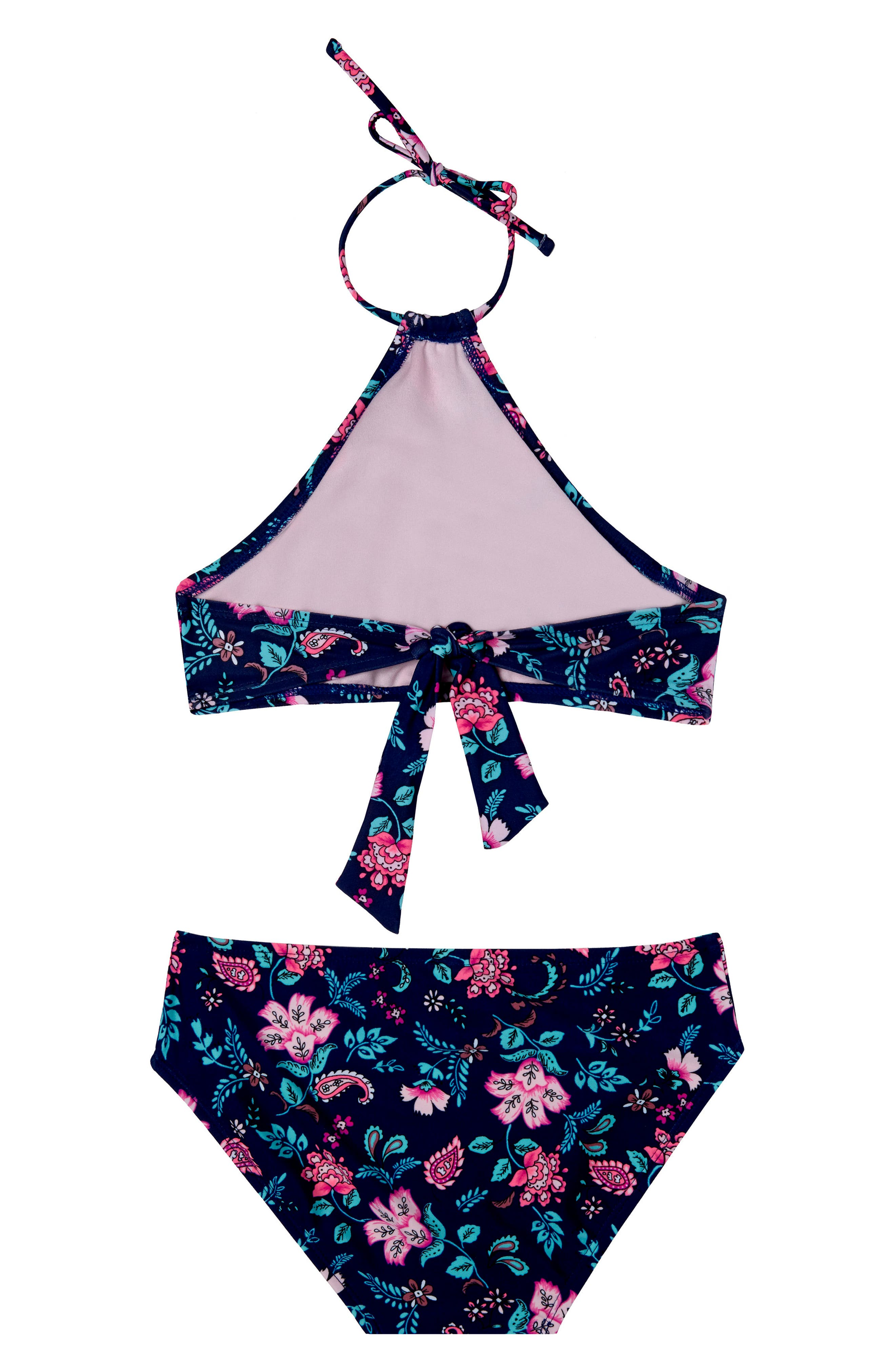 Floral Field Two-Piece Swimsuit,                             Alternate thumbnail 2, color,                             NAVY