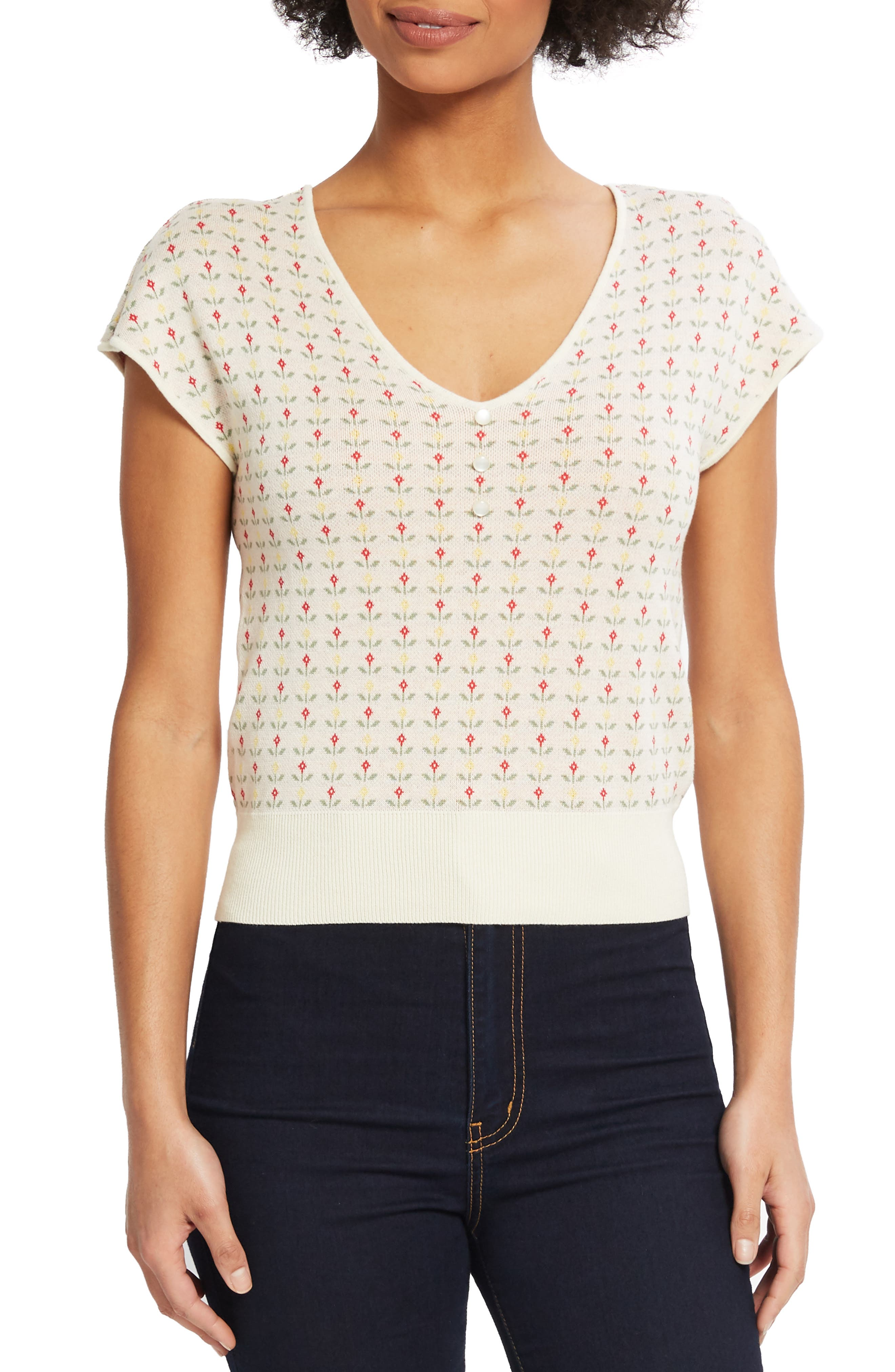 Plus Size Modcloth Floral Short Sleeve Sweater, Ivory