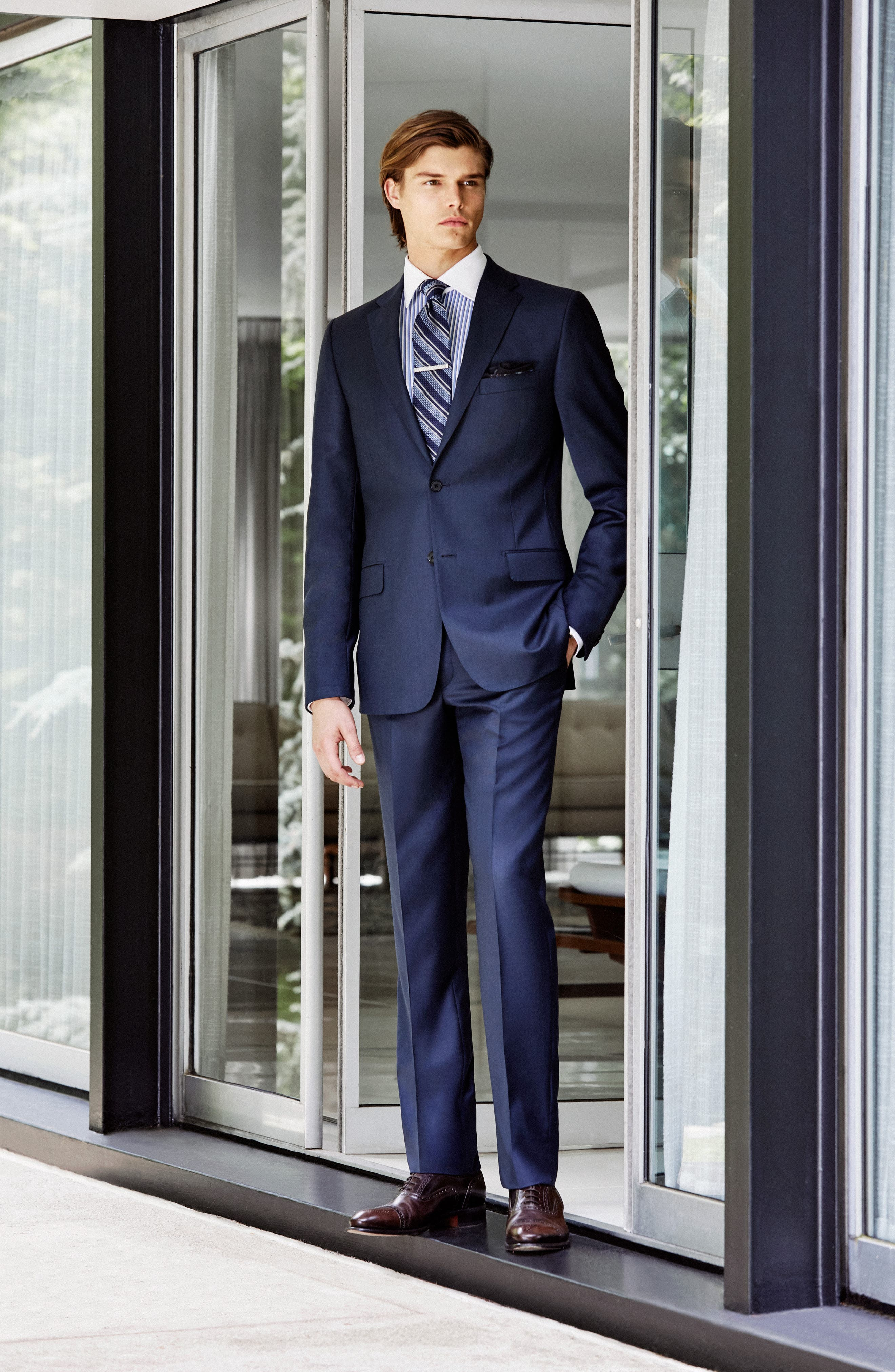 Classic B Fit Solid Loro Piana Wool Suit,                             Alternate thumbnail 9, color,                             NAVY SHARKSKIN