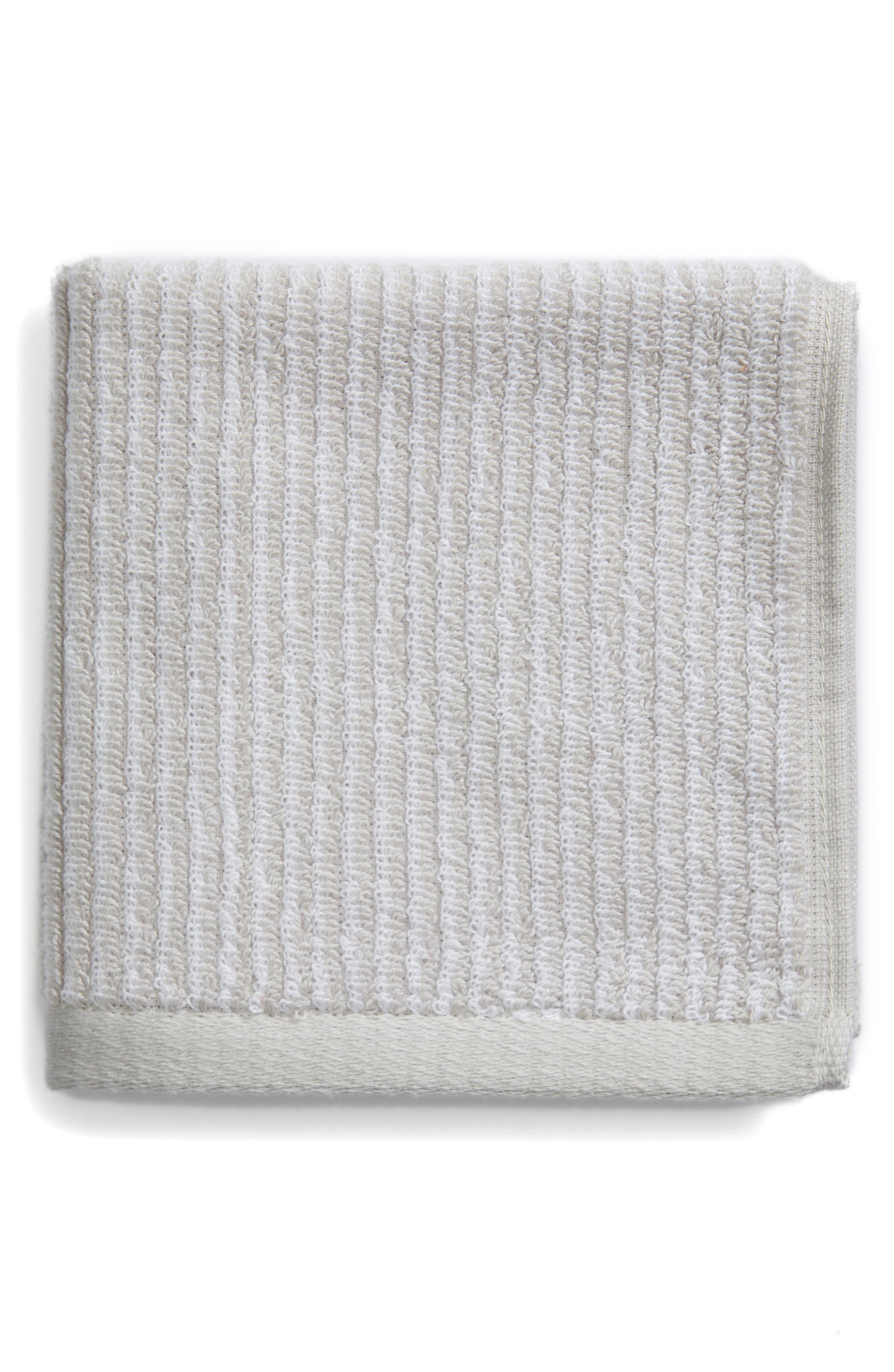 Ezra Stripe Washcloth,                         Main,                         color, GREY VAPOR