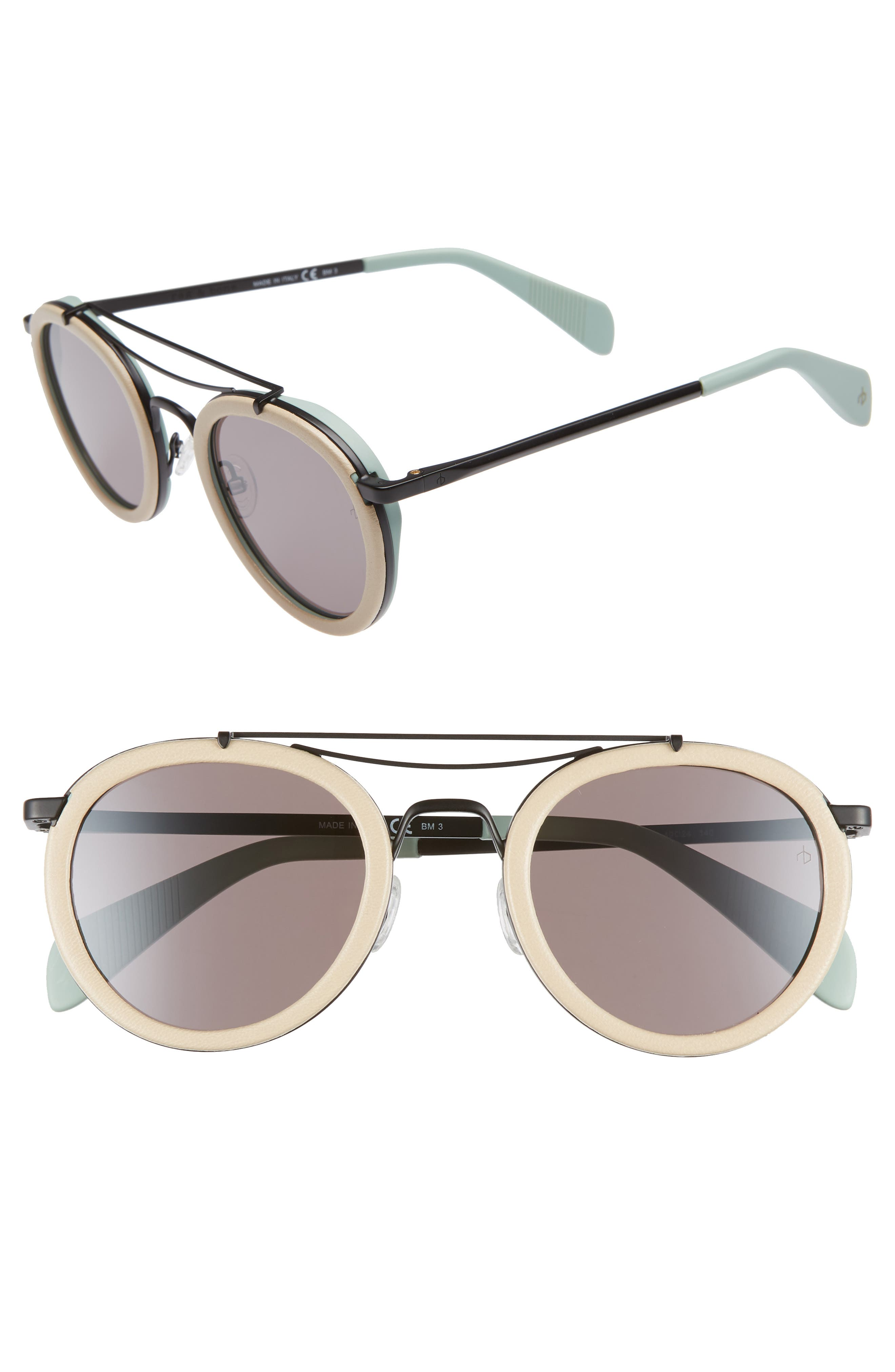 55mm Round Aviator Sunglasses,                             Main thumbnail 1, color,                             MATTE BLACK BEIGE
