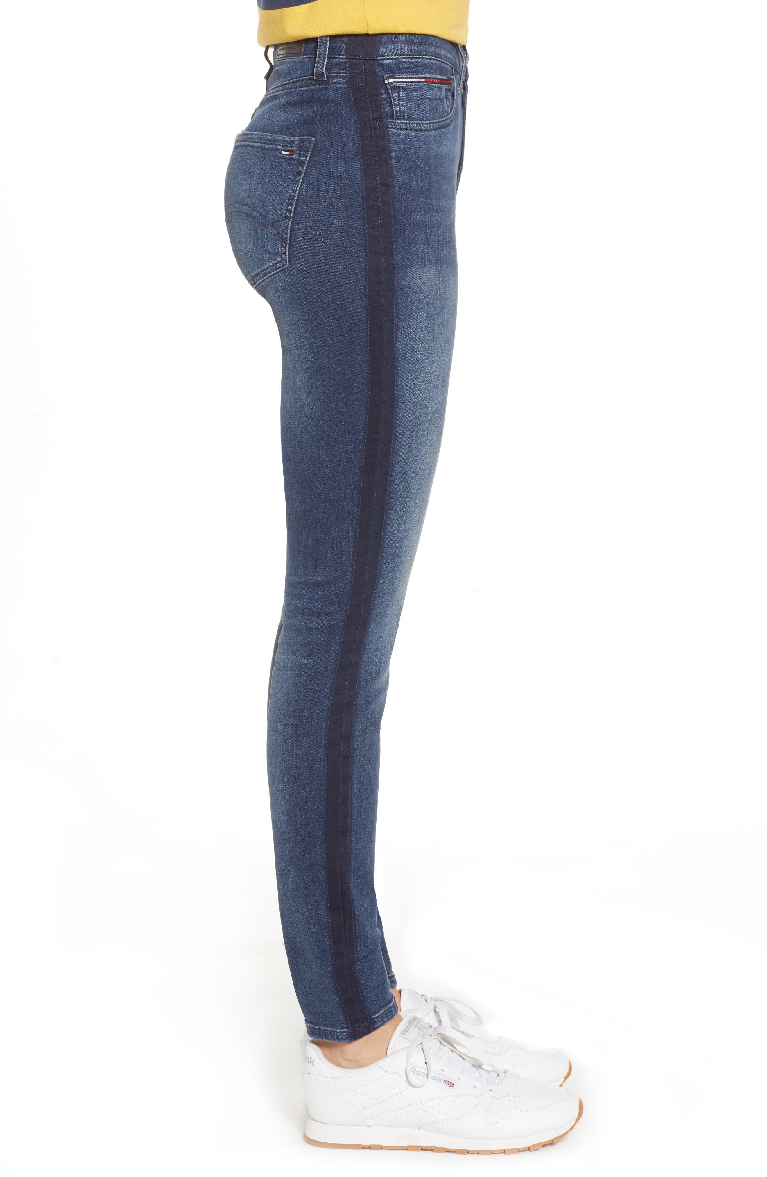 Santana High Waist Skinny Jeans,                             Alternate thumbnail 3, color,                             NEDDLE DARK BLUE STRETCH