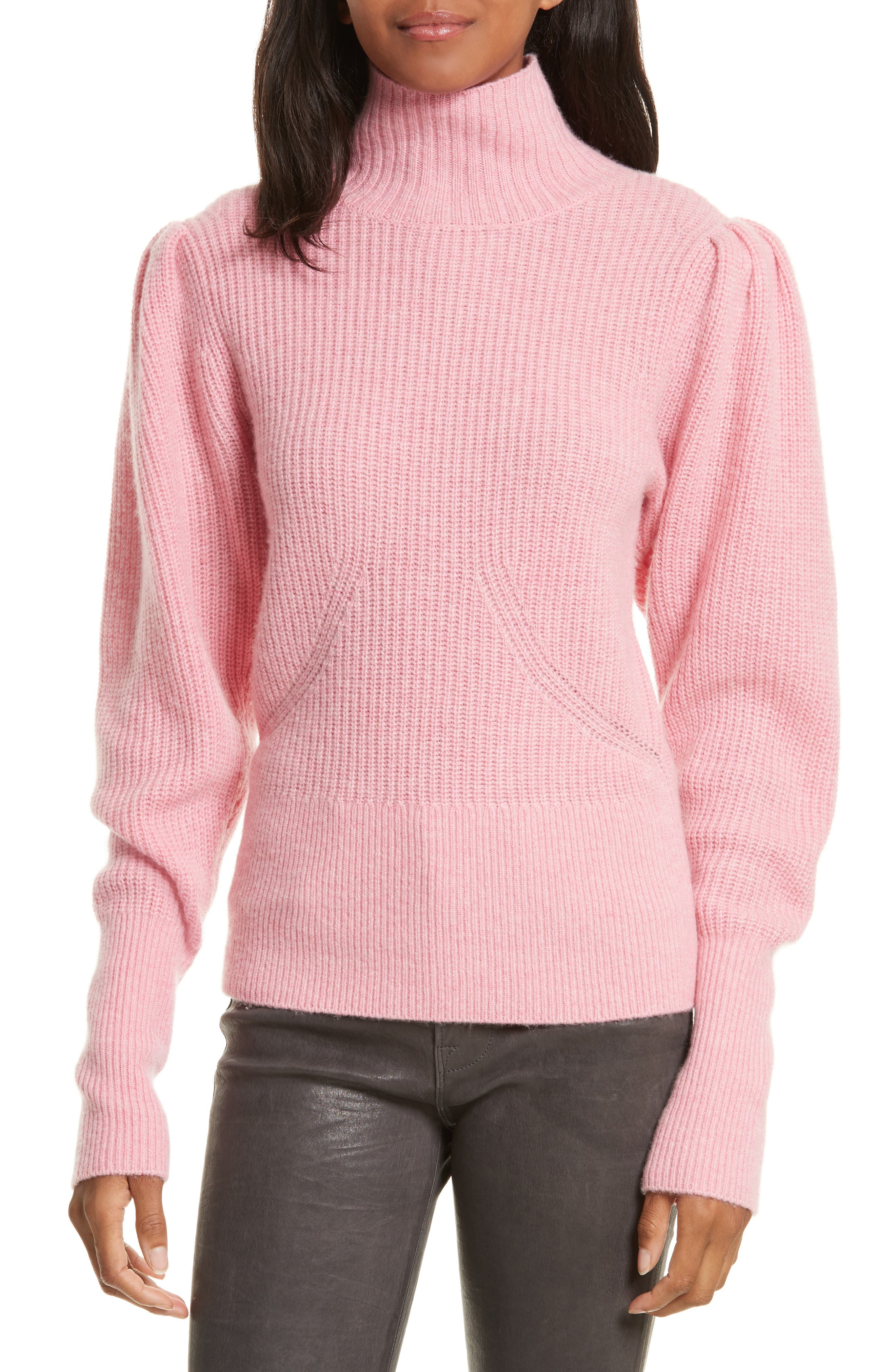 Wool & Cashmere Puff Sleeve Turtleneck Sweater,                             Main thumbnail 2, color,