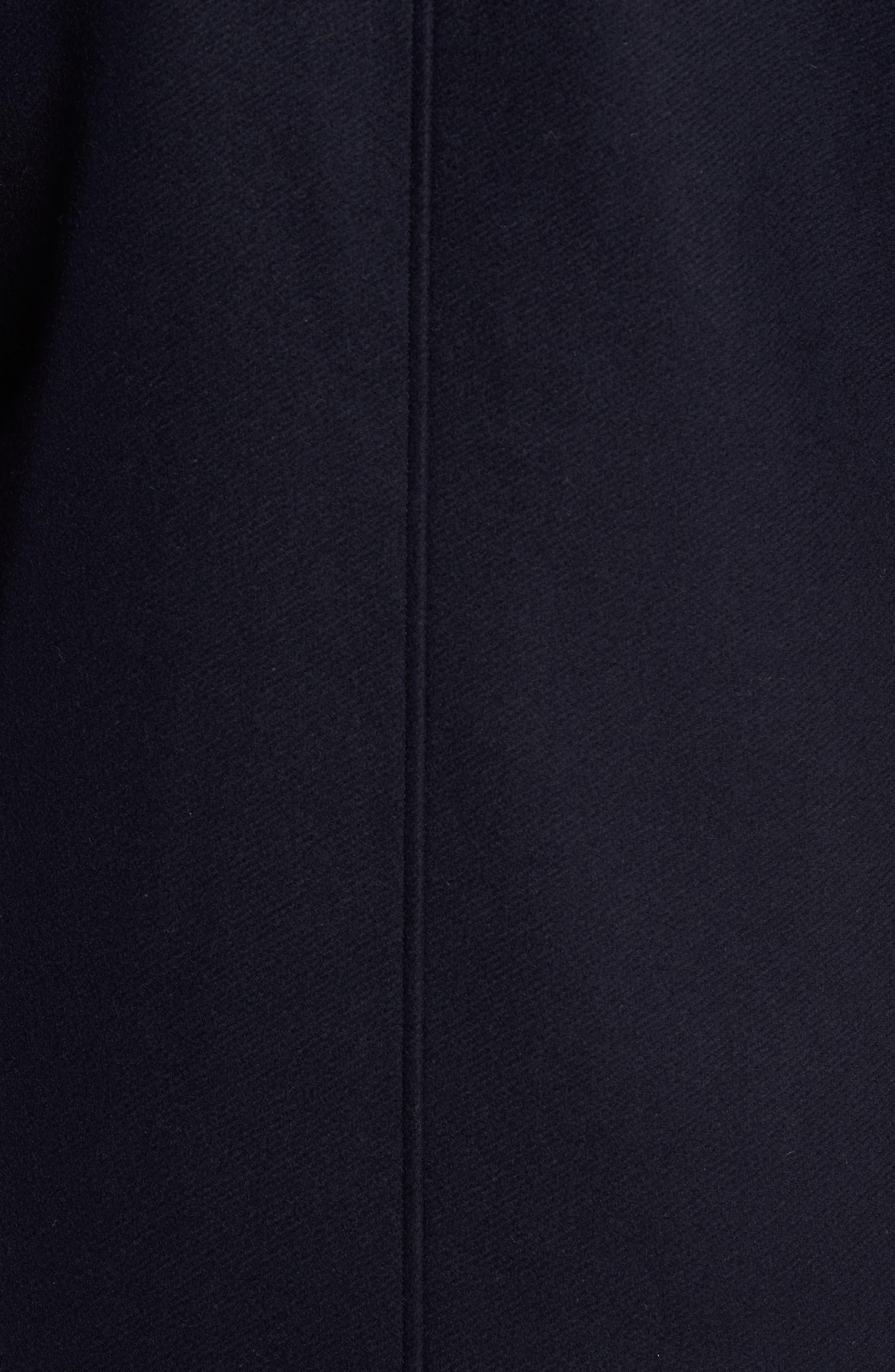 Genuine Beaver Fur Collar Wool Blend Coat,                             Alternate thumbnail 5, color,                             400