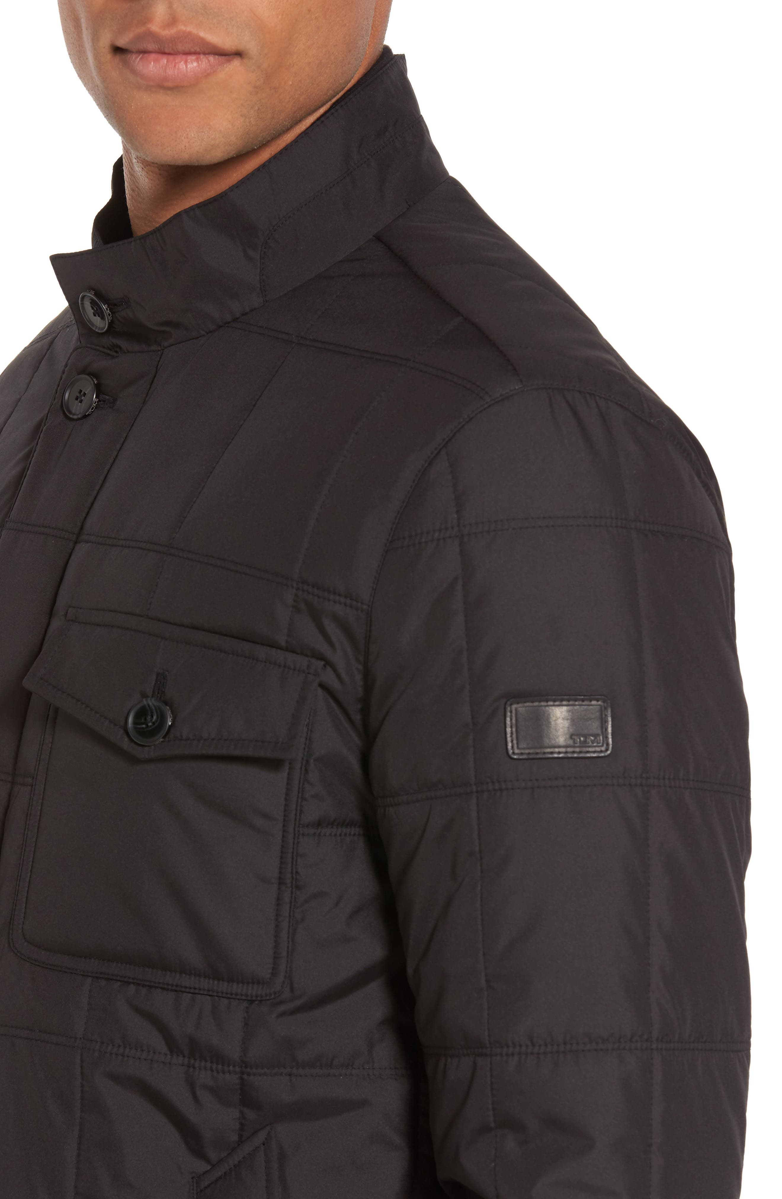 Regular Fit Quilted Jacket,                             Alternate thumbnail 4, color,                             001