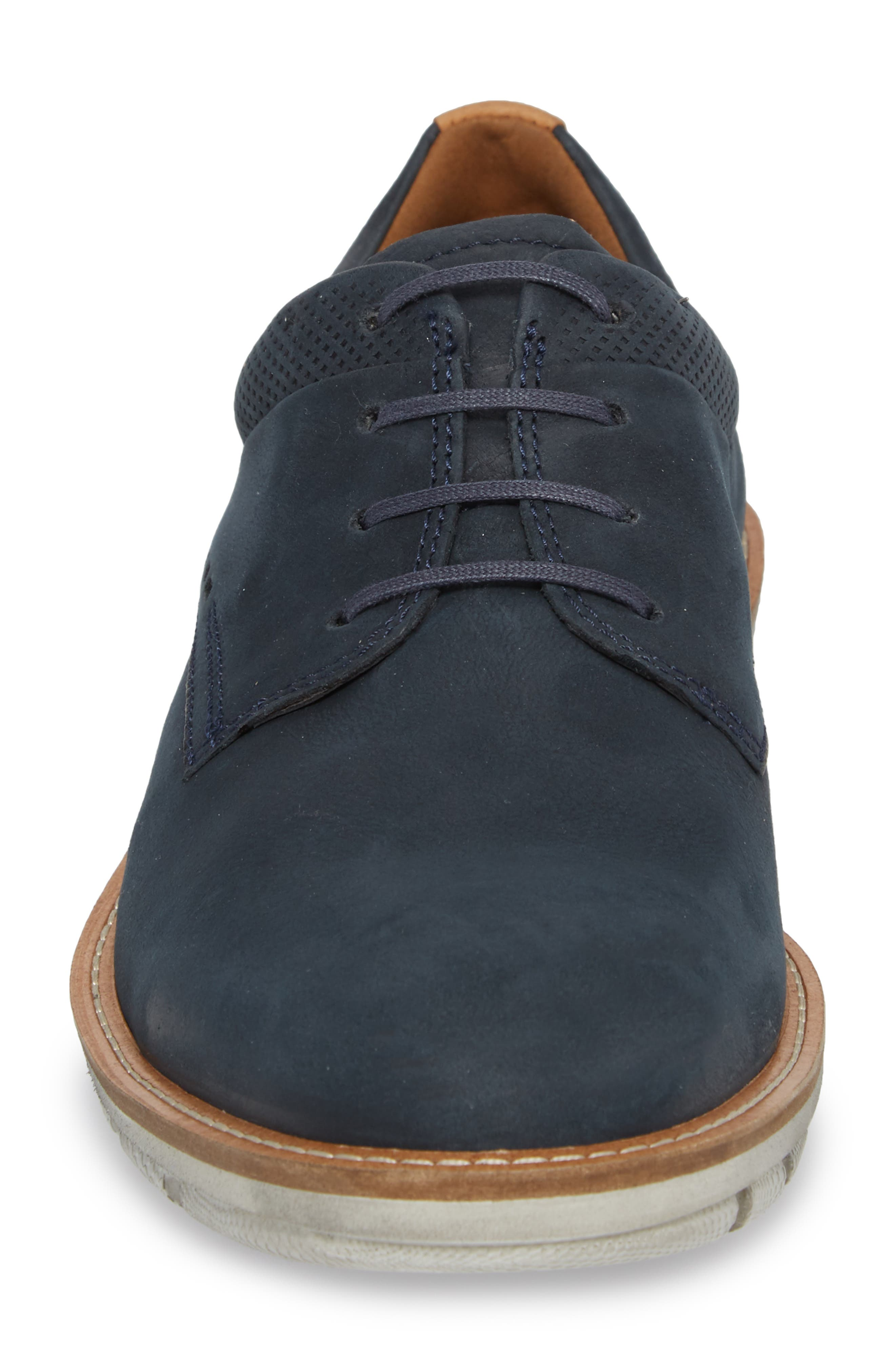 Jeremy Hybrid Plain Toe Derby,                             Alternate thumbnail 4, color,                             NAVY LEATHER