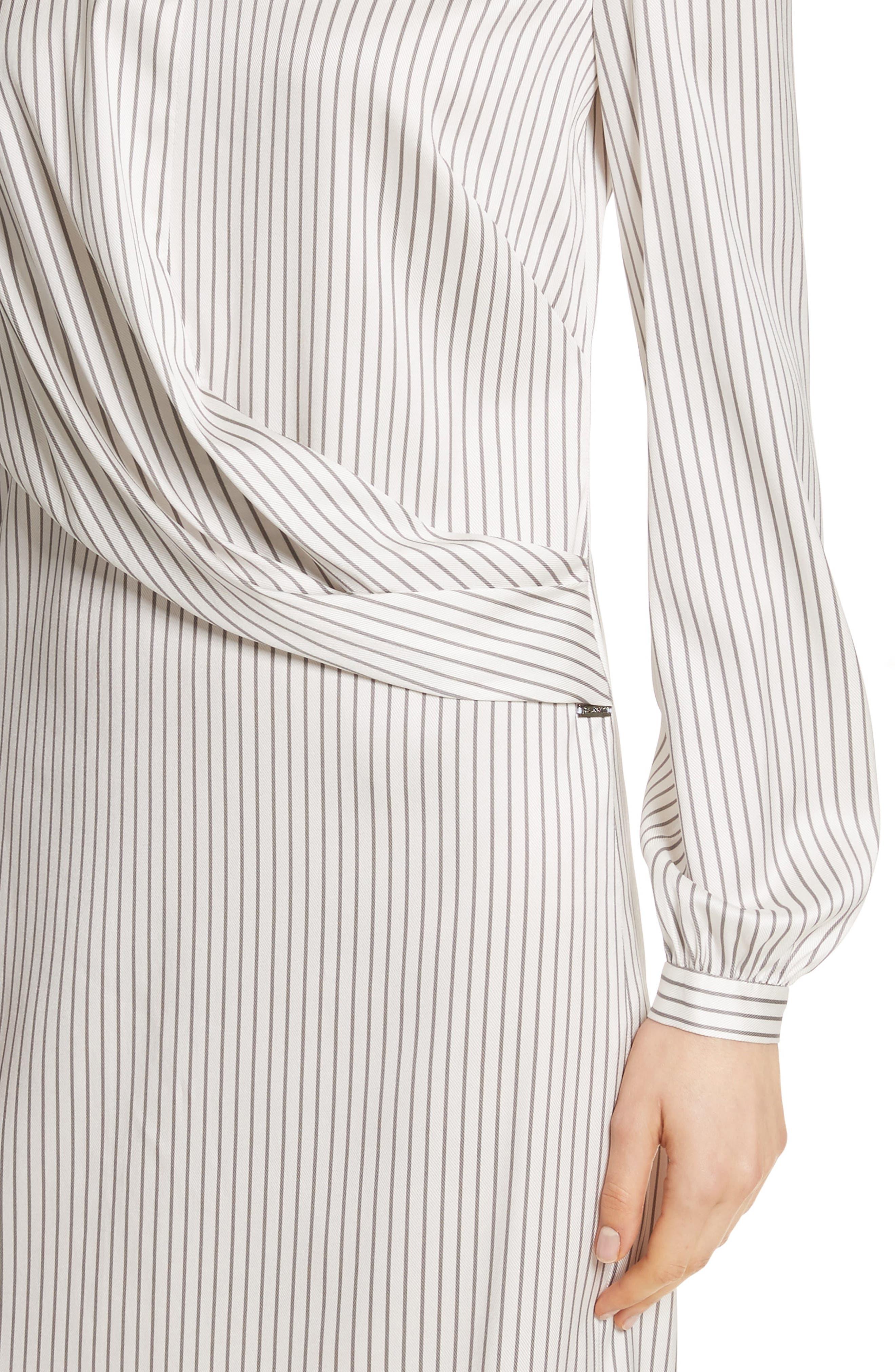 Vertical Stripe Stretch Silk Dress,                             Alternate thumbnail 4, color,                             270