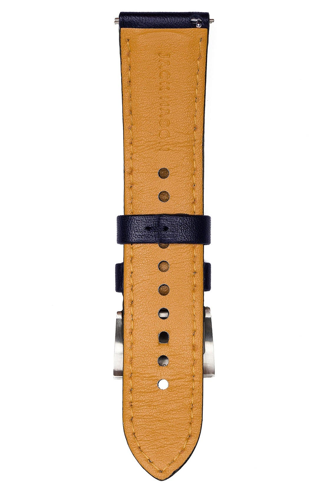 Leather Watch Strap, 22mm,                             Alternate thumbnail 3, color,                             400