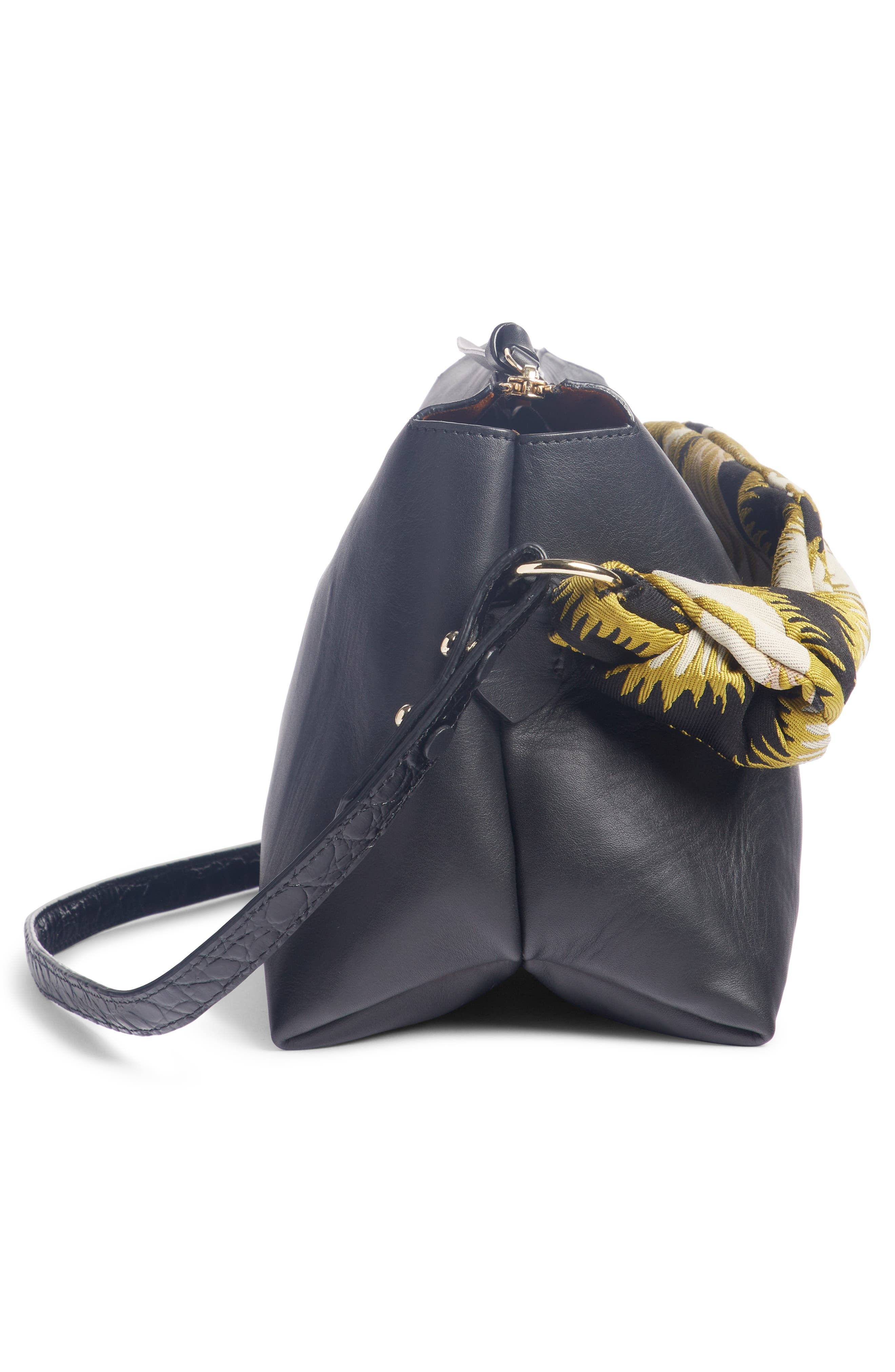 Scarf Handle Leather Bag,                             Alternate thumbnail 3, color,                             YELLOW