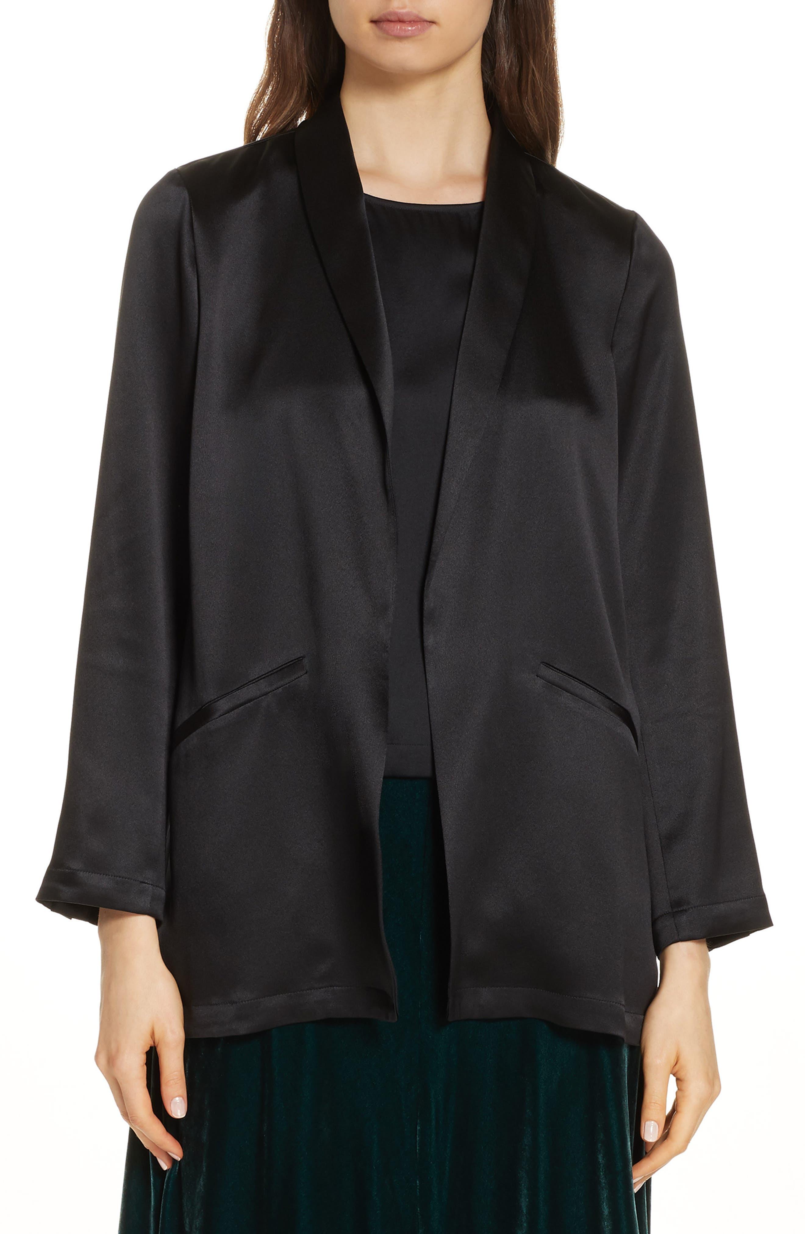 Silk Crepe-Back Satin Blazer in Black
