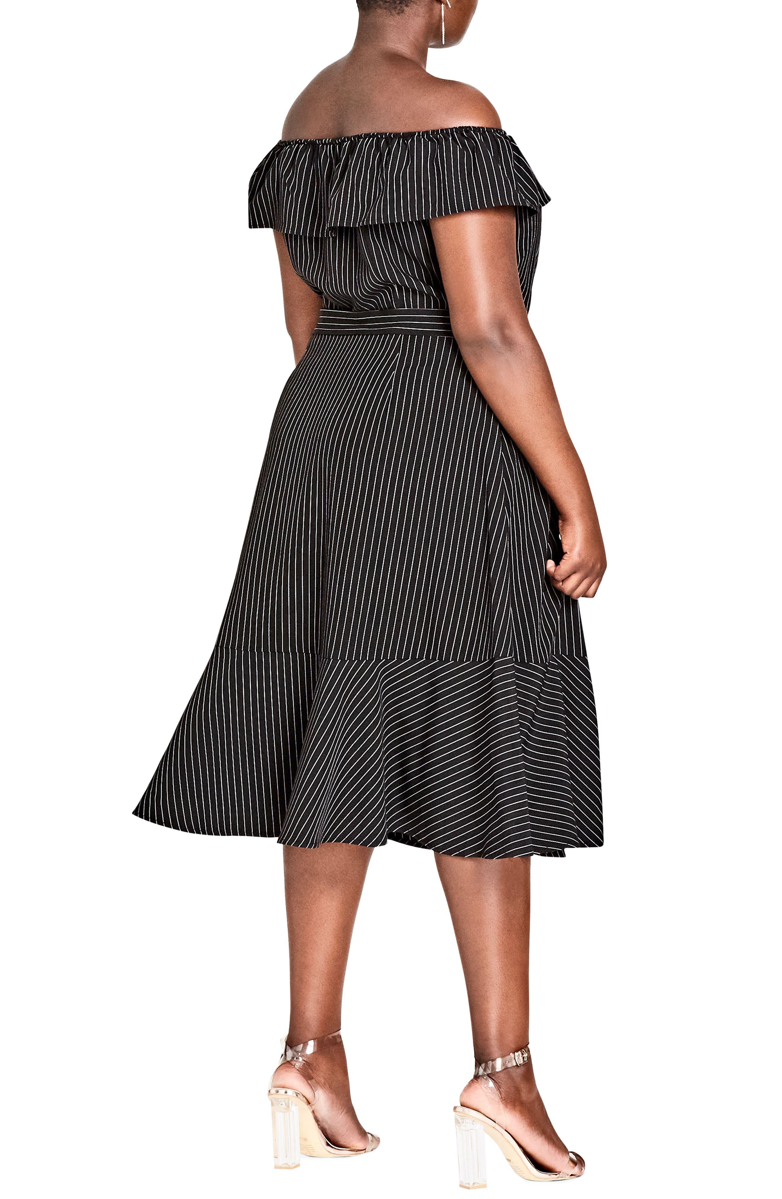 CITY CHIC,                             Midi Madame Stripe Off the Shoulder Dress,                             Alternate thumbnail 2, color,                             BLACK