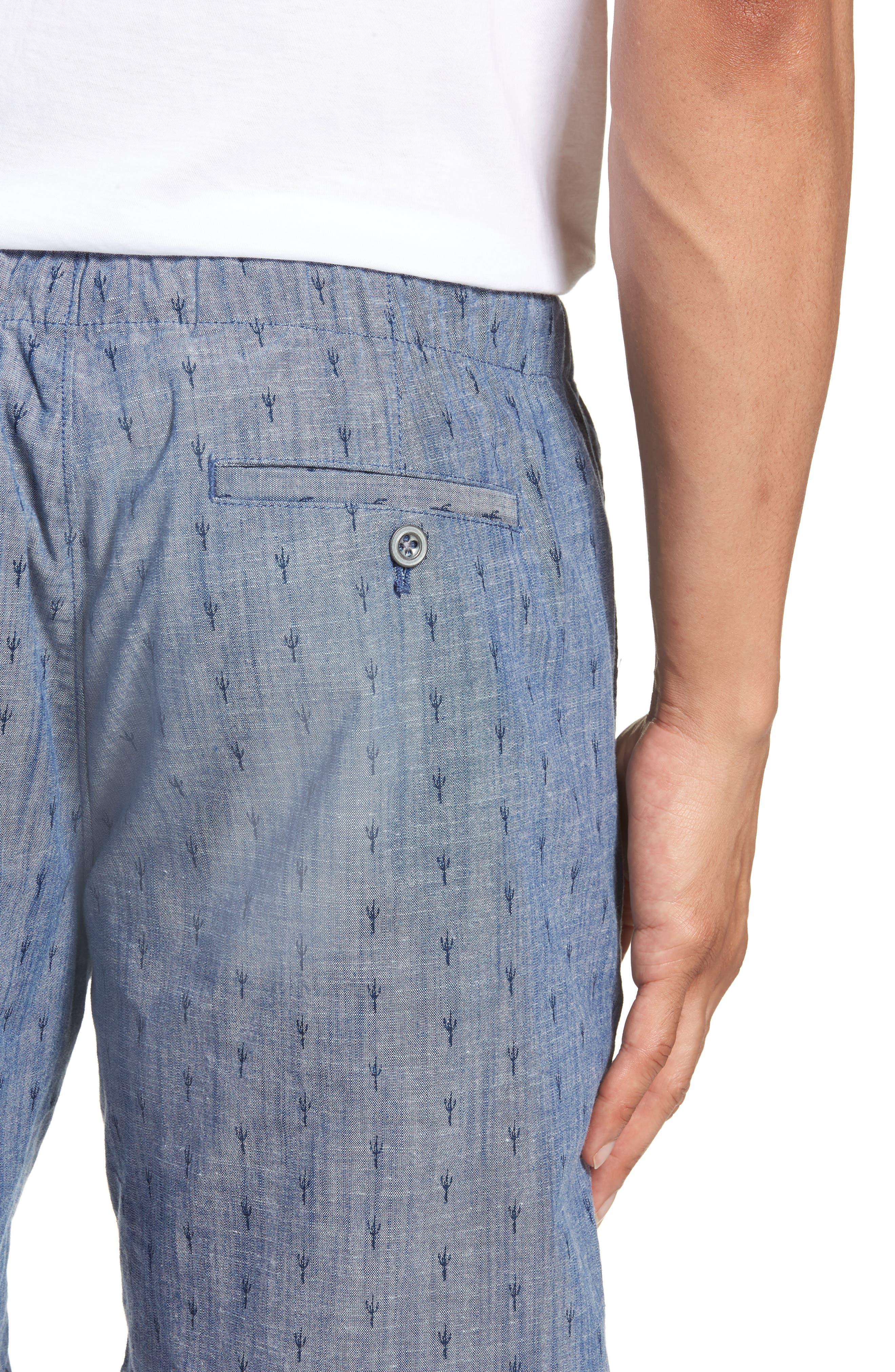 Slim Fit Print Beach Shorts,                             Alternate thumbnail 4, color,                             400