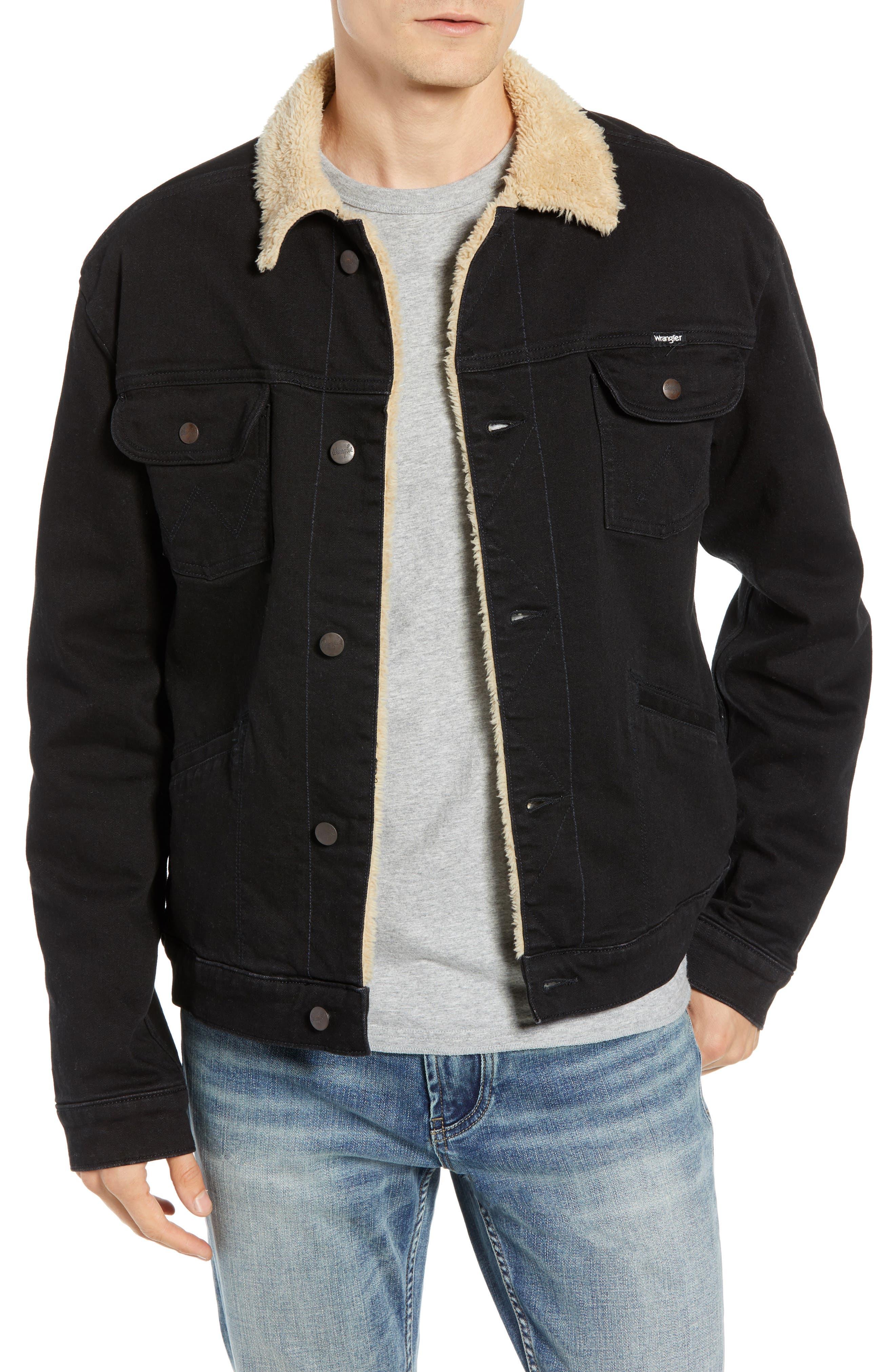 Heritage Fleece Lined Denim Jacket,                             Main thumbnail 1, color,                             BLACK