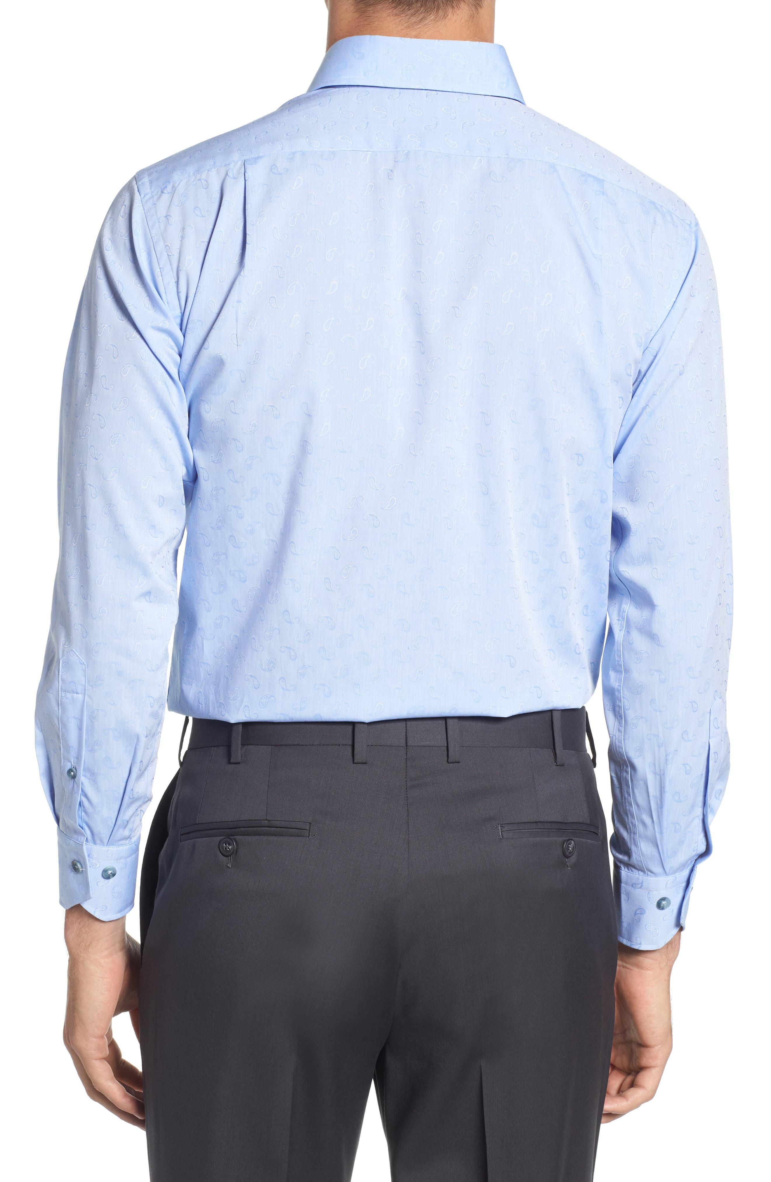 Trim Fit Paisley Dress Shirt,                             Alternate thumbnail 3, color,                             LIGHT BLUE