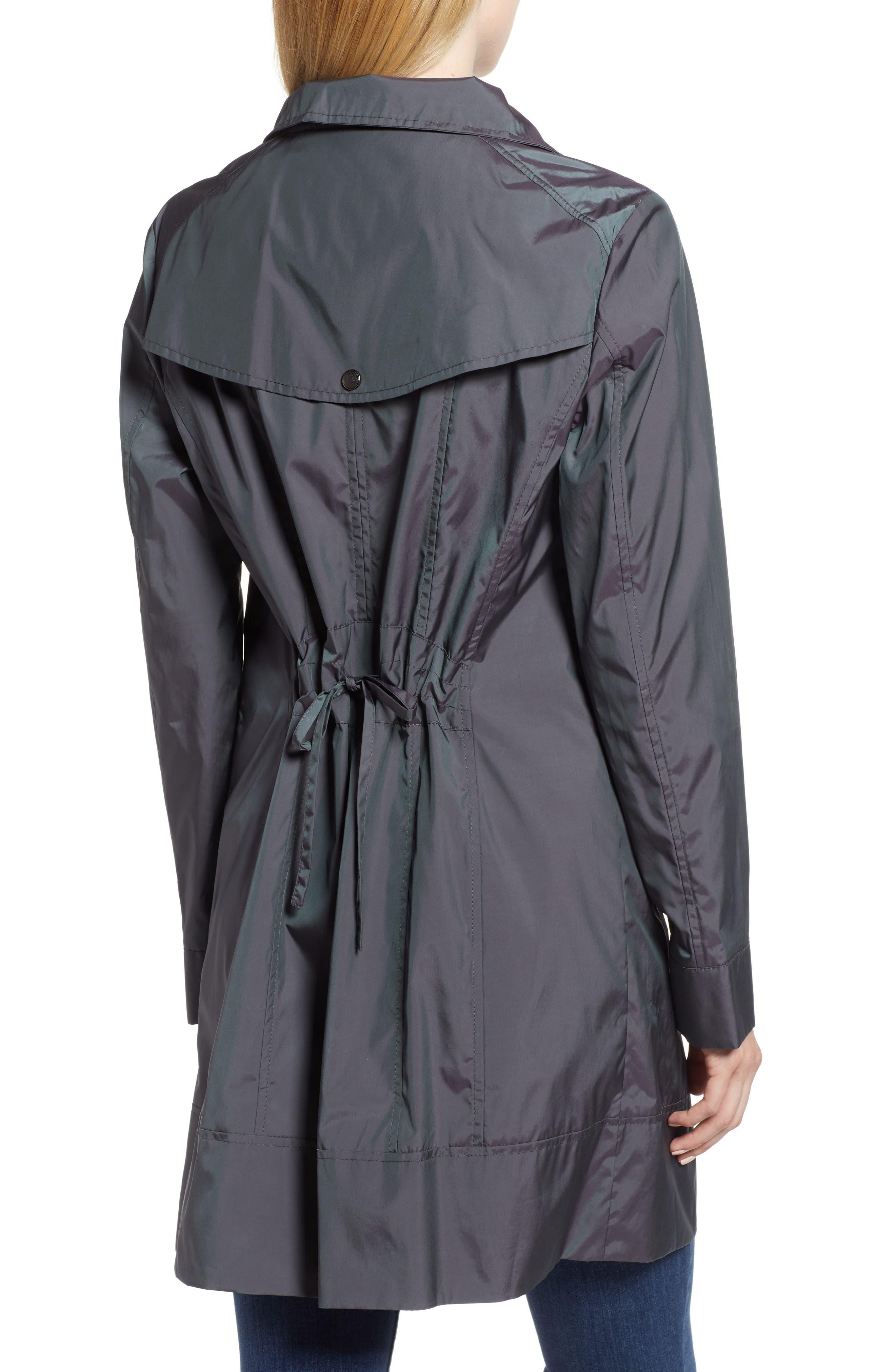 Back Bow Packable Hooded Raincoat,                             Alternate thumbnail 2, color,                             GUNMETAL