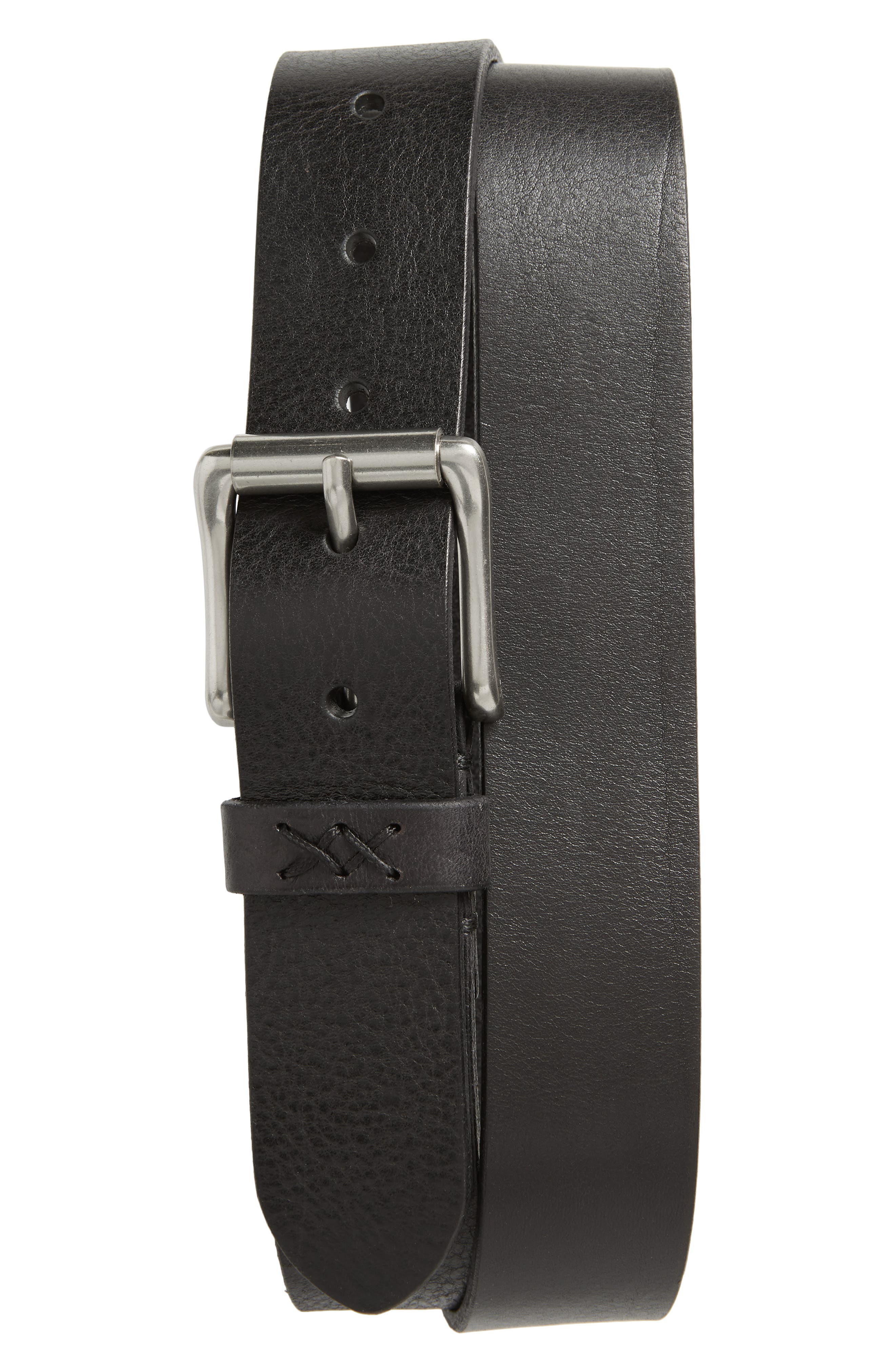 Flat Panel Leather Belt, Main, color, BLACK