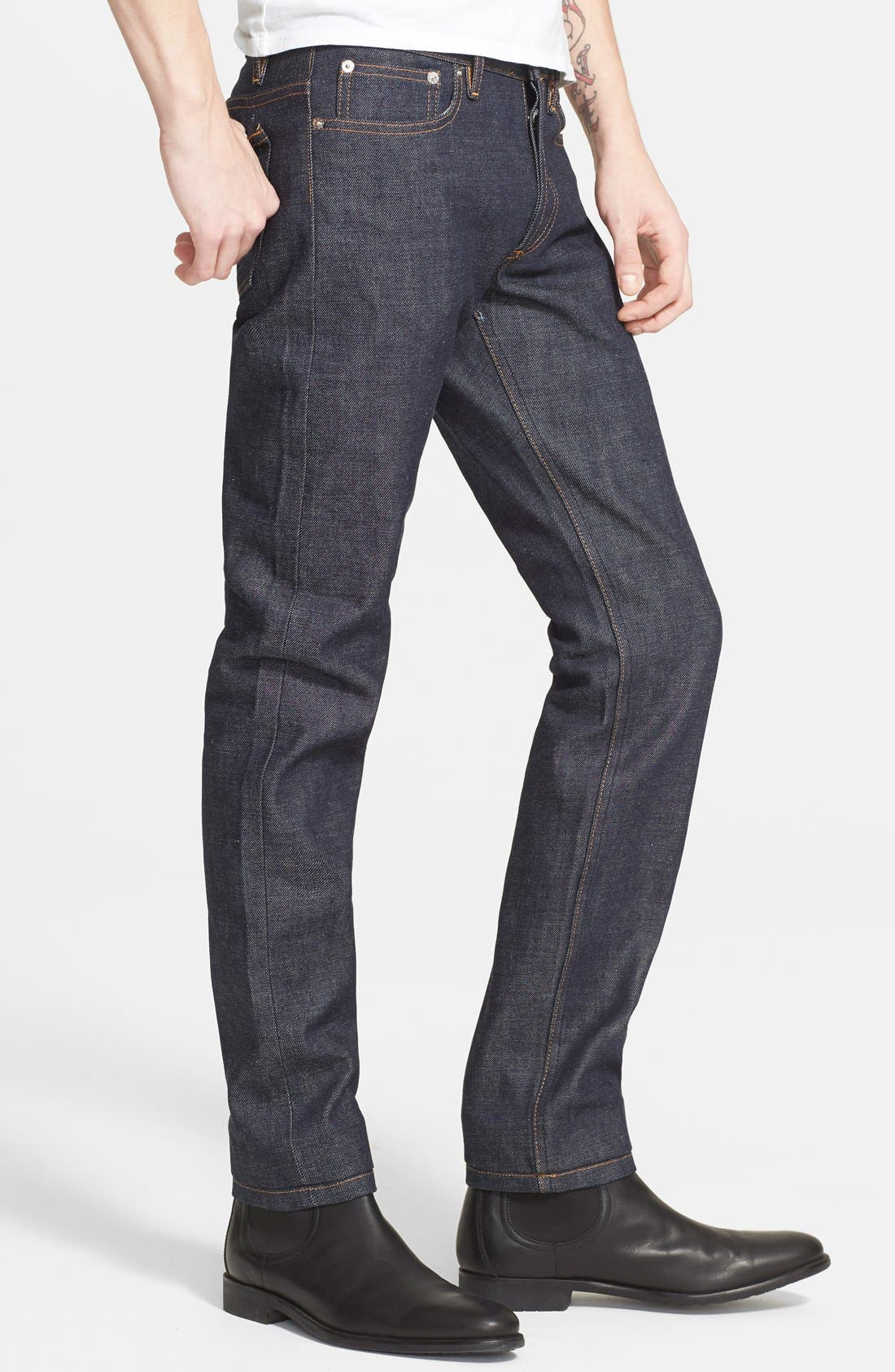 Petit New Standard Skinny Fit Selvedge Jeans,                             Alternate thumbnail 4, color,                             INDIGO WASH