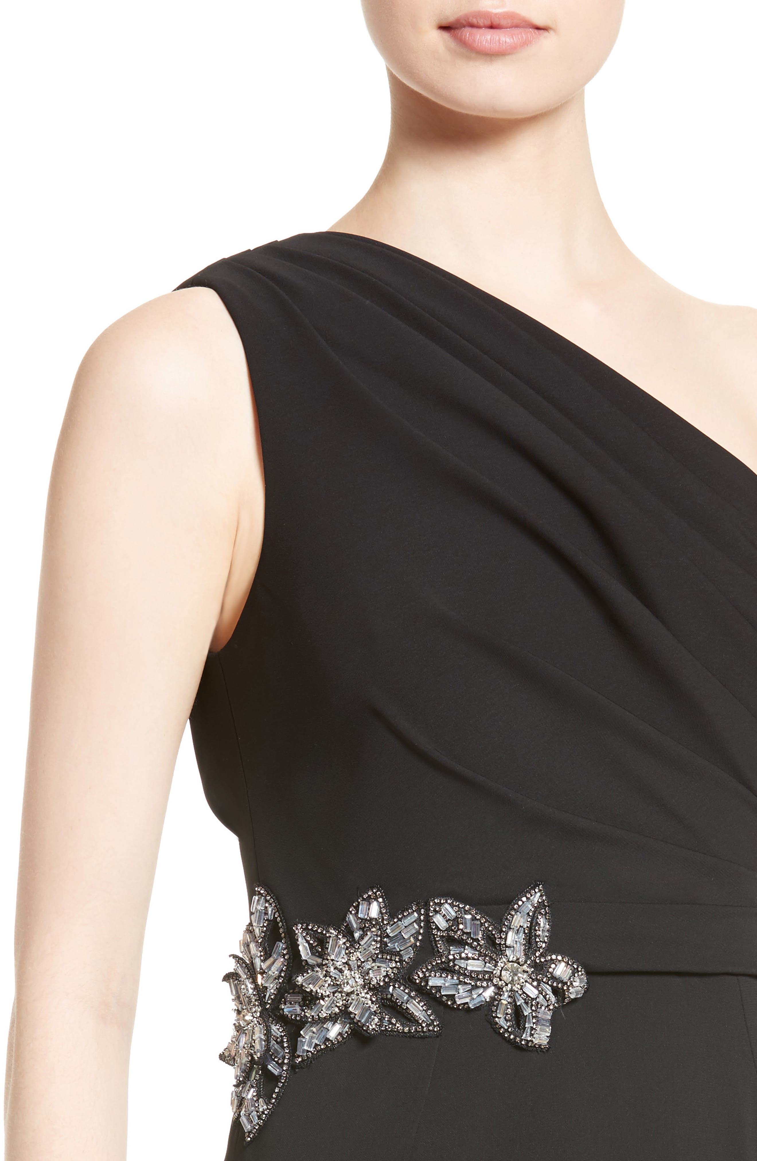 Badgley Mischka Couture Odessa Embellished One-Shoulder Gown,                             Alternate thumbnail 4, color,                             001