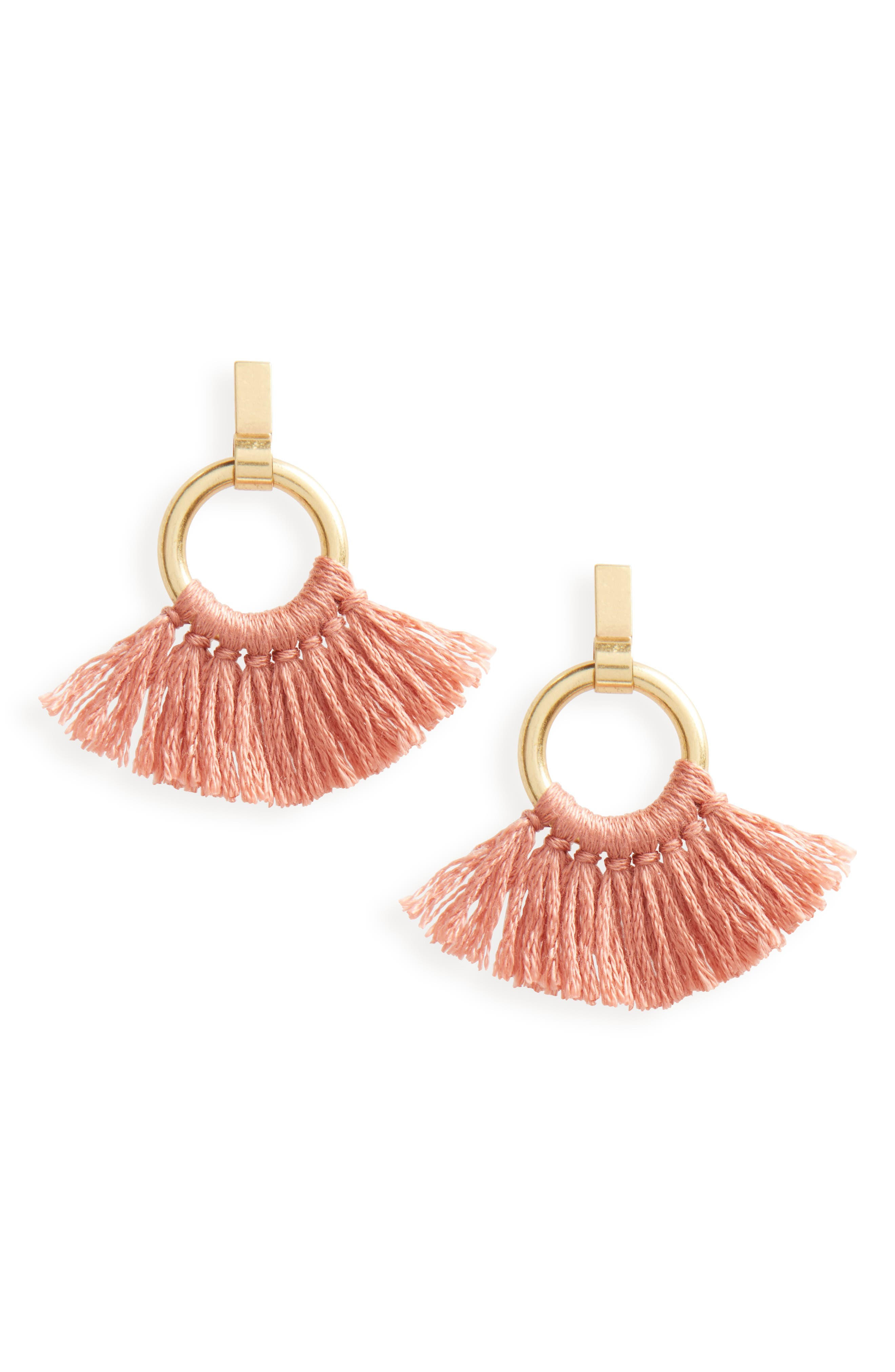 Tassel Wrap Hoop Earrings,                             Main thumbnail 1, color,                             710