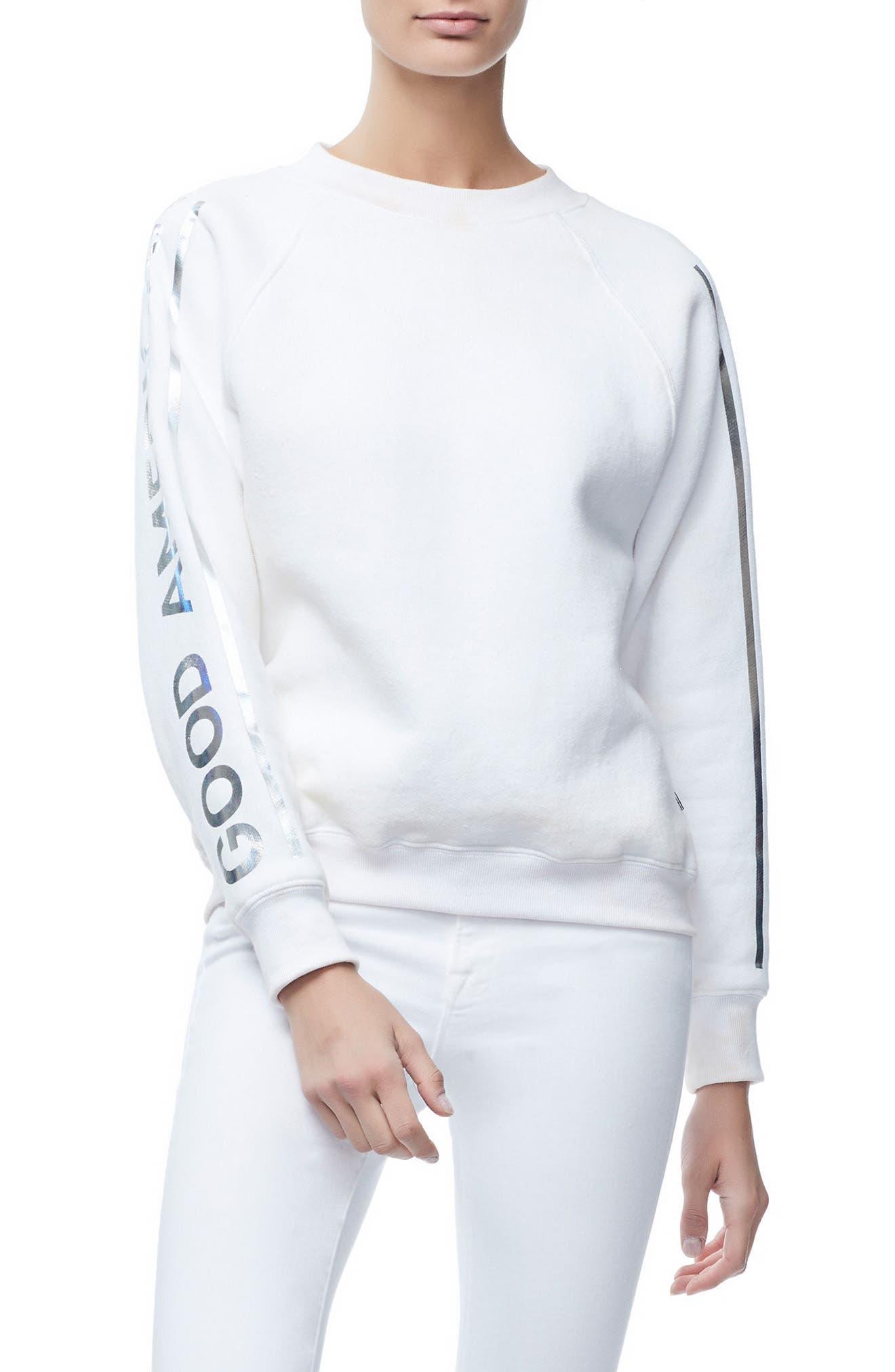 Crewneck Sweatshirt,                         Main,                         color, WHITE