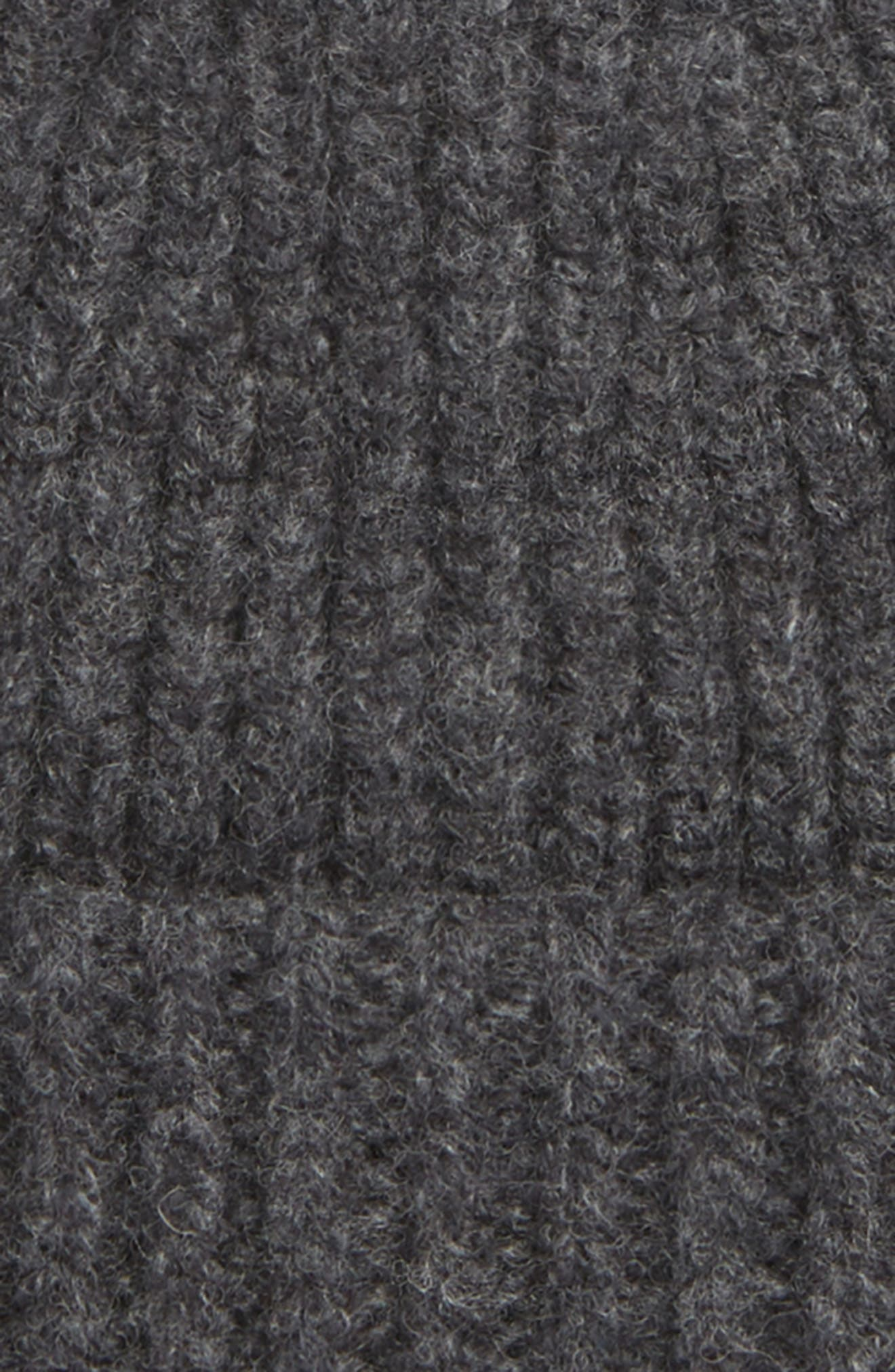 Pansy Rib Knit Beanie,                             Alternate thumbnail 2, color,                             CHARCOAL MELANGE