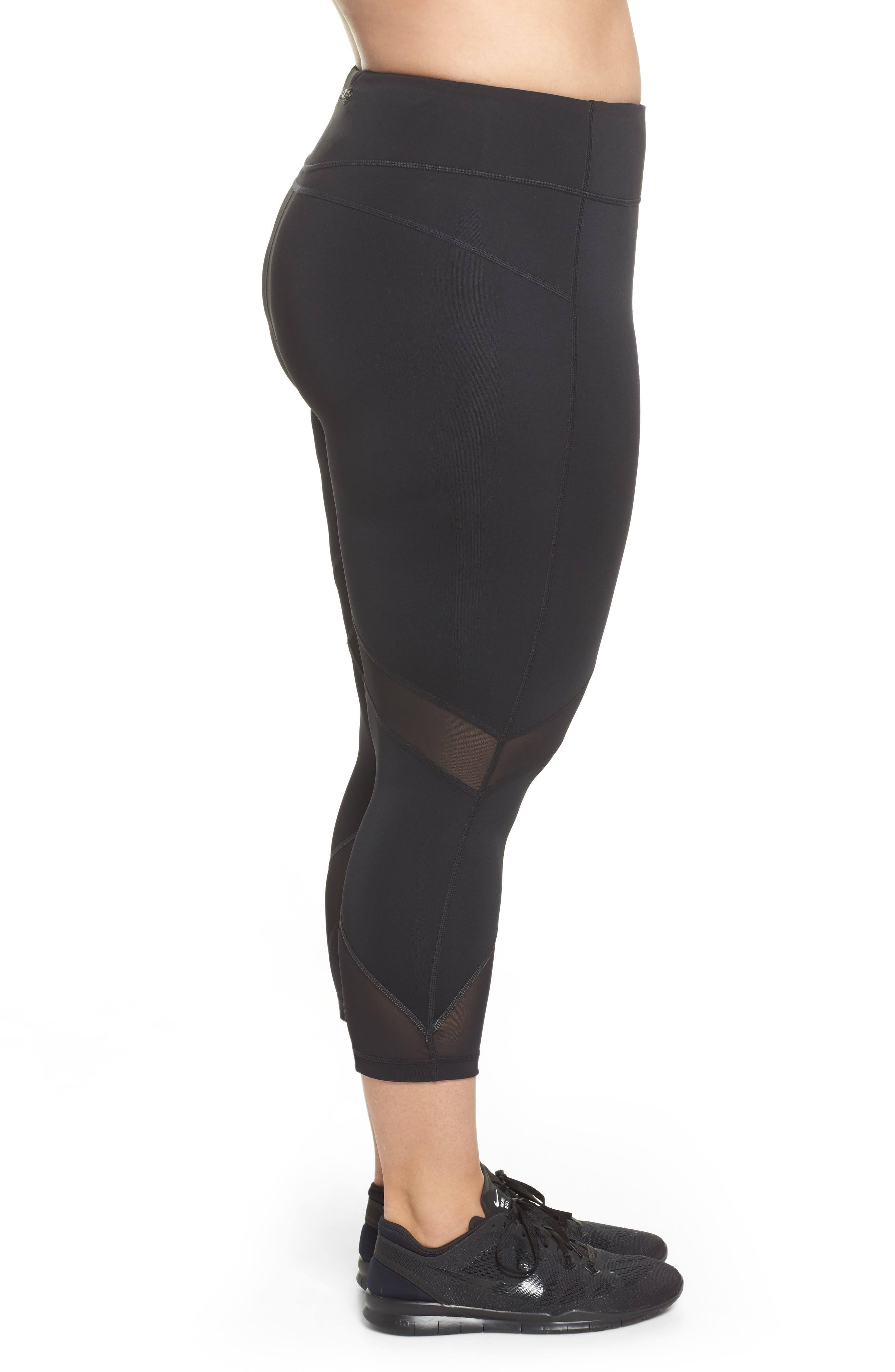 Swift II Crop Leggings,                             Alternate thumbnail 3, color,                             BLACK