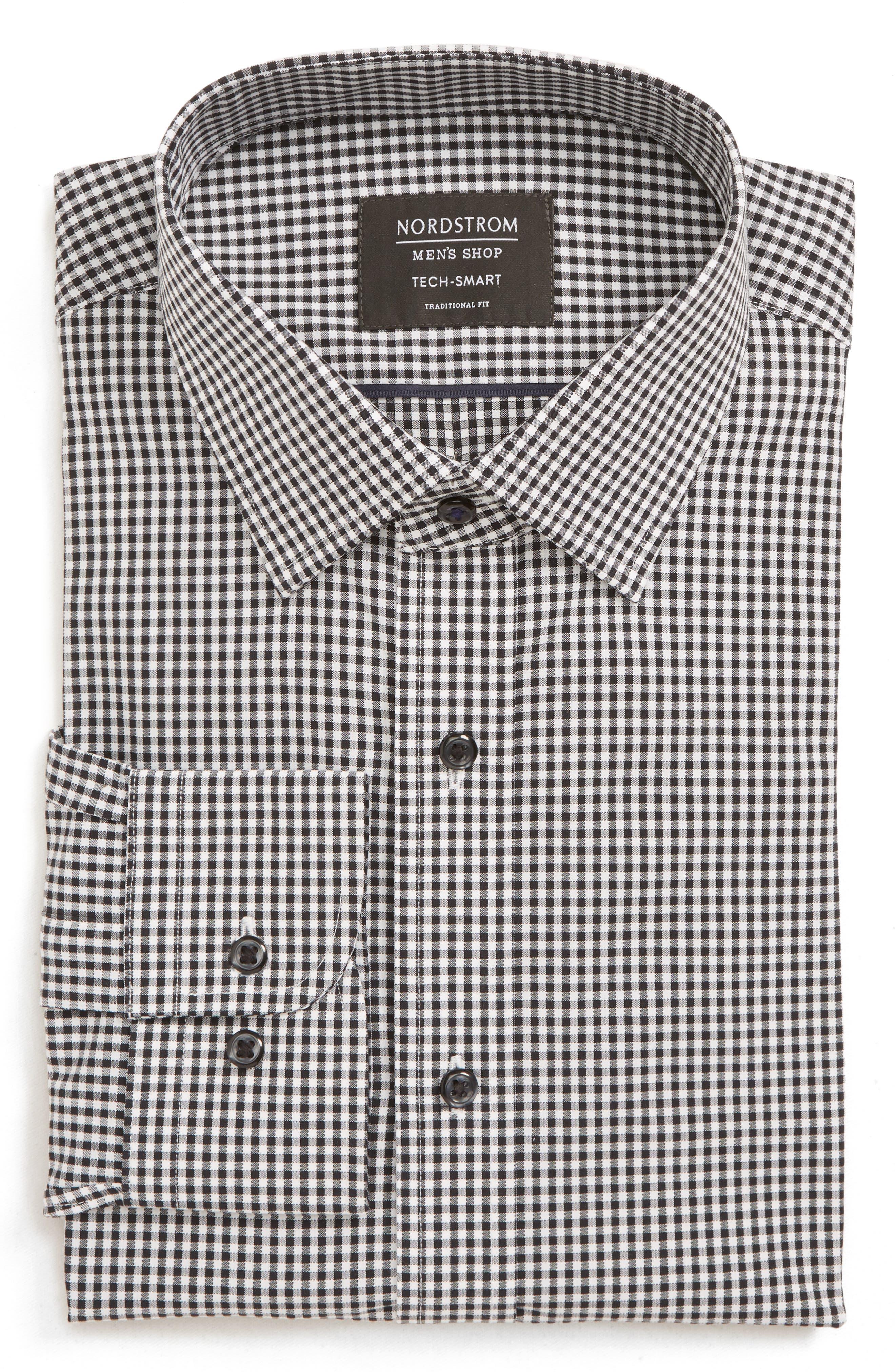 Tech-Smart Traditional Fit Check Stretch Dress Shirt,                             Main thumbnail 1, color,                             BLACK ROCK