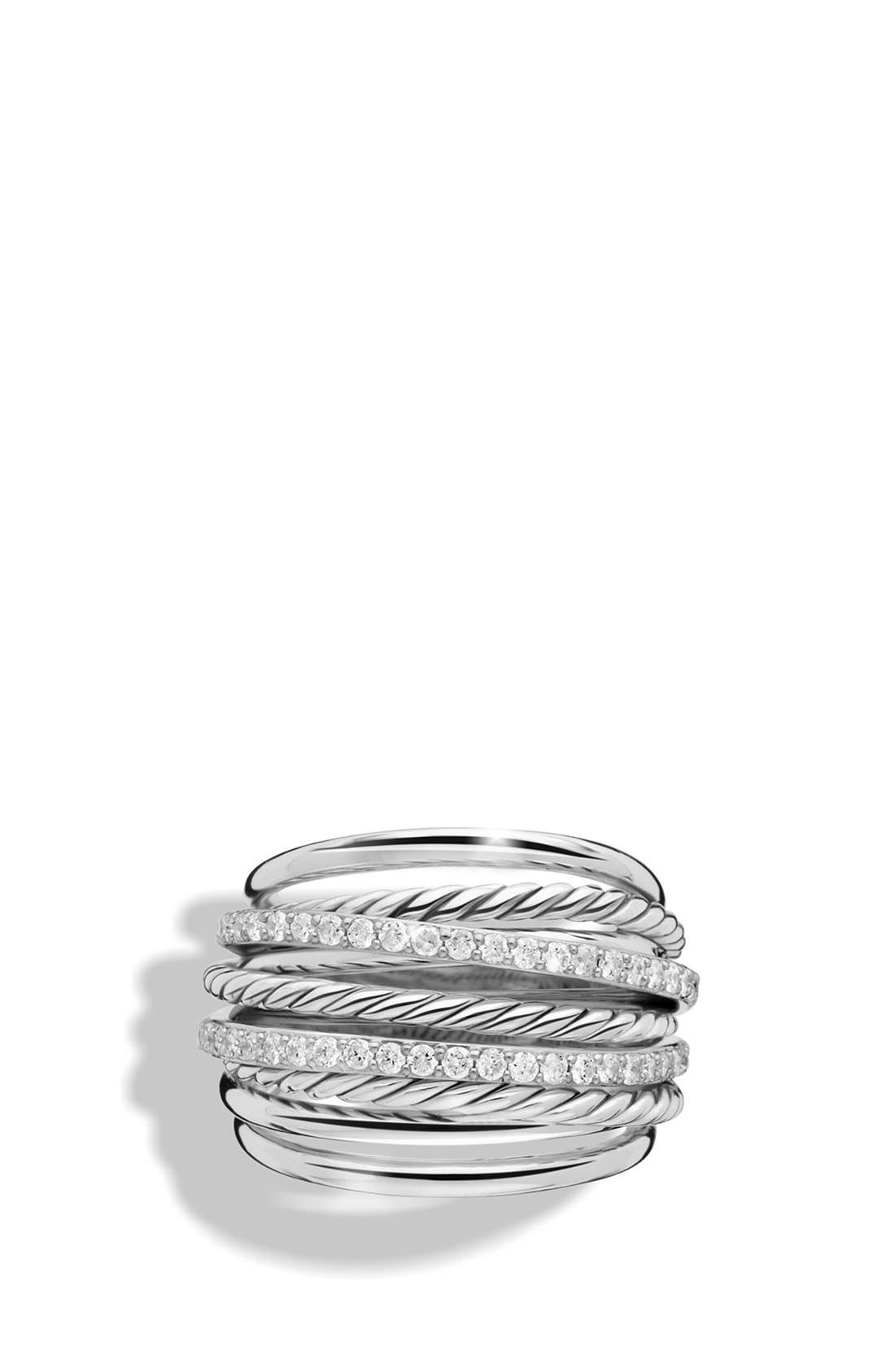 'Crossover' Dome Ring with Diamonds,                             Alternate thumbnail 3, color,                             DIAMOND
