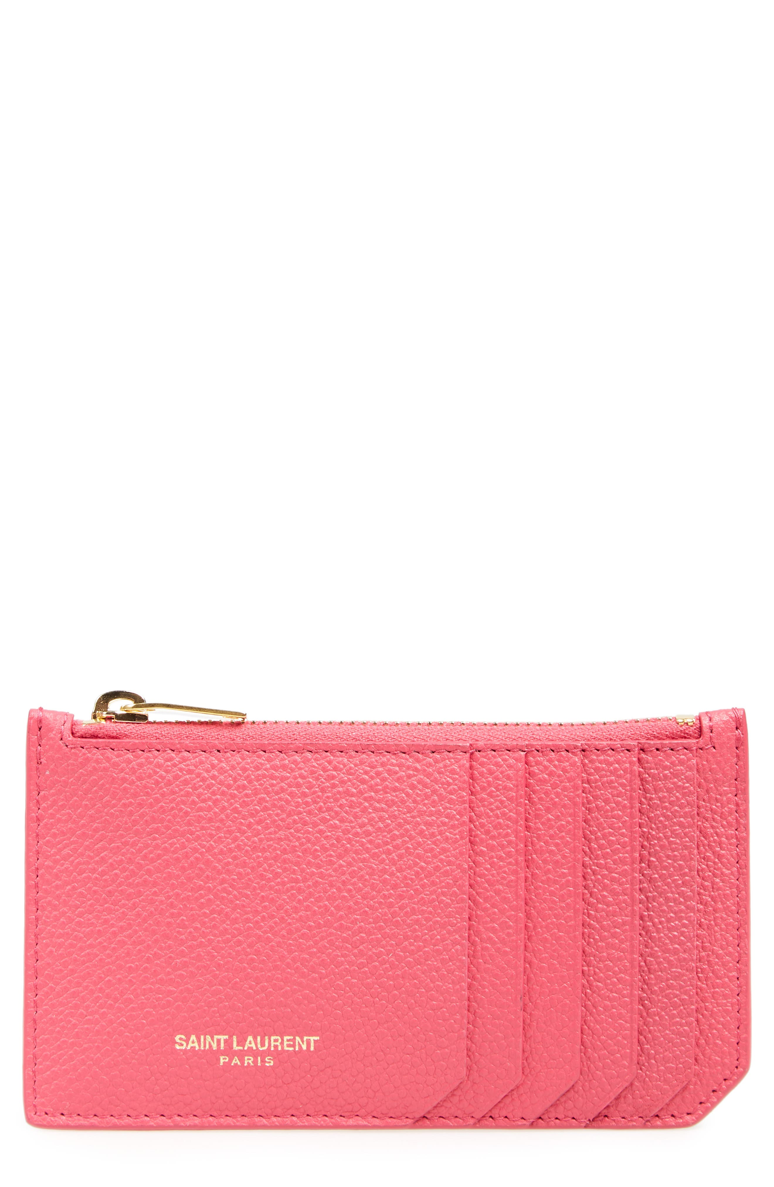 Leather Card Case,                         Main,                         color, SHOCKING PINK