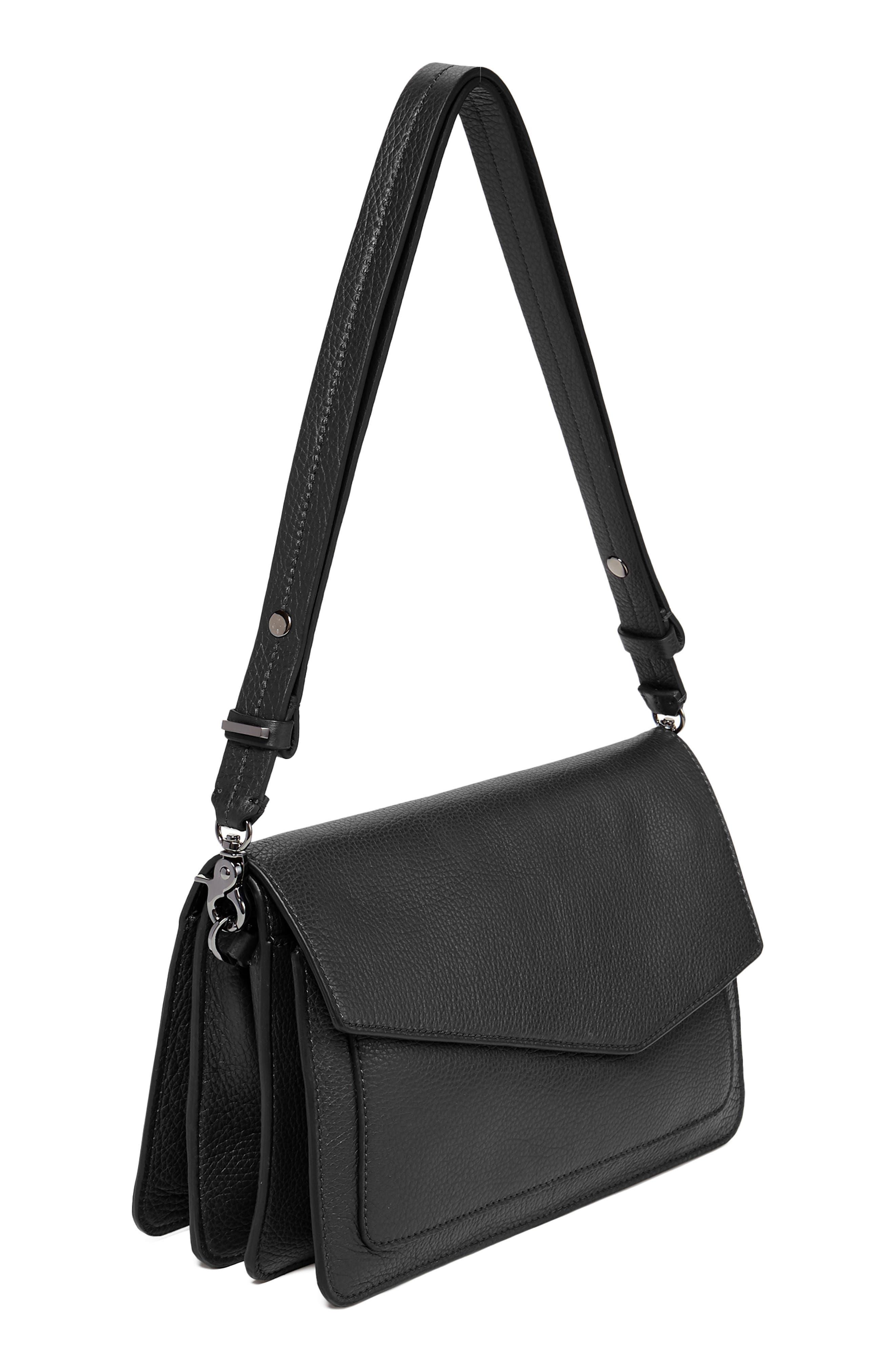 Cobble Hill Leather Shoulder Bag,                             Main thumbnail 1, color,                             BLACK