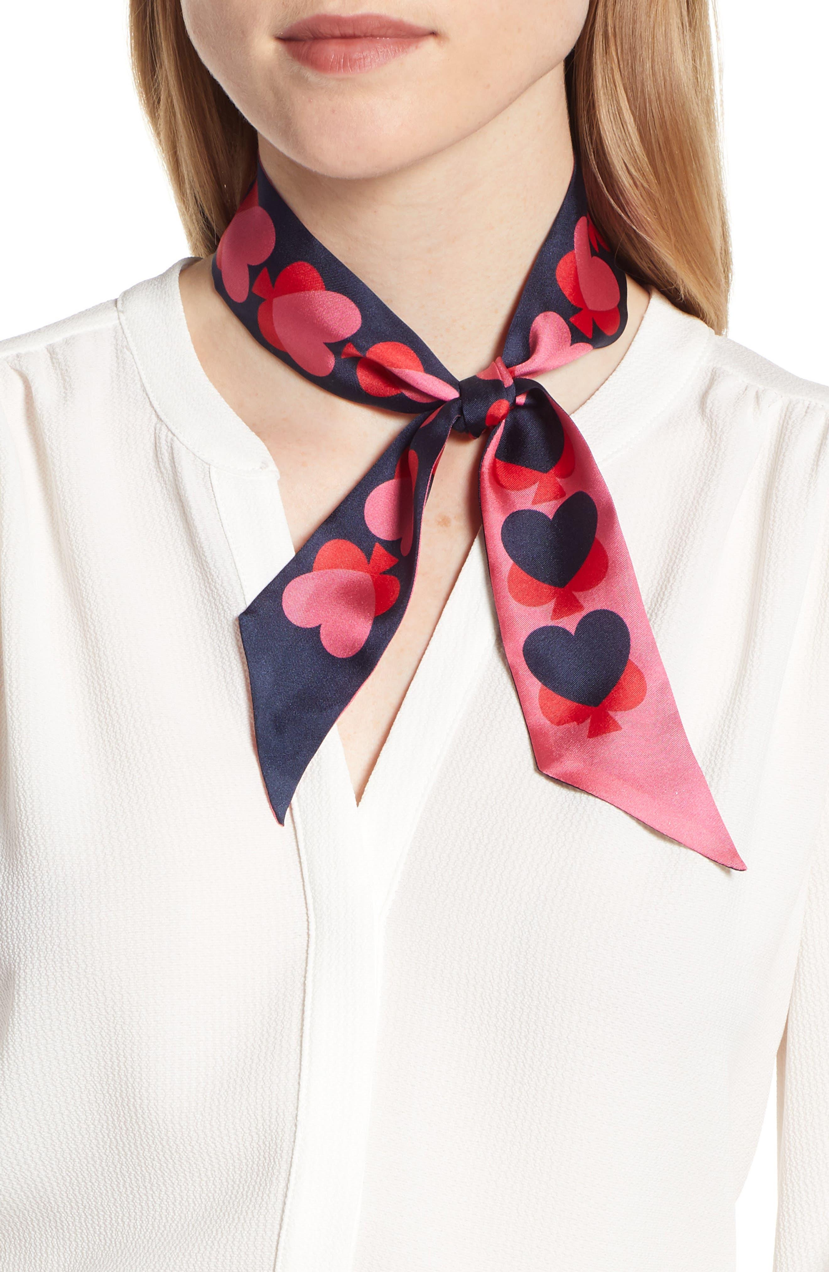 KATE SPADE NEW YORK spade hearts skinny silk scarf, Main, color, PARISIAN NAVY