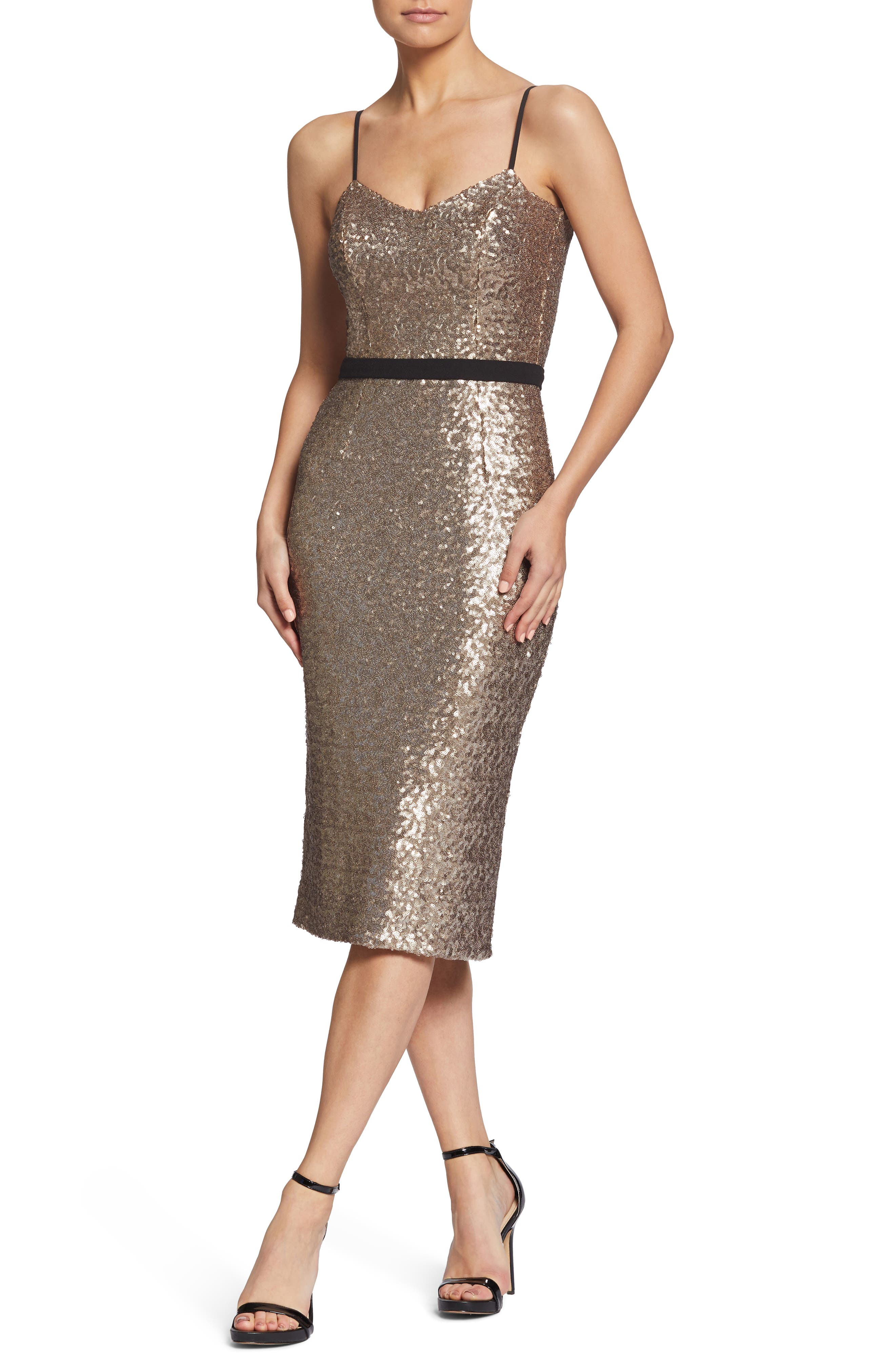 Dress The Population Emma Sequin Body-Con Dress, Metallic