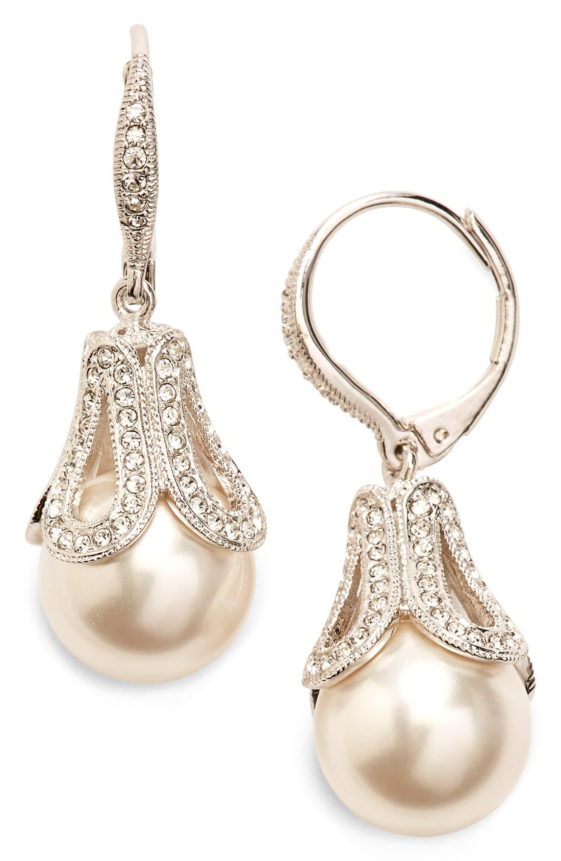 Imitation Pearl Drop Earrings,                         Main,                         color, IVORY