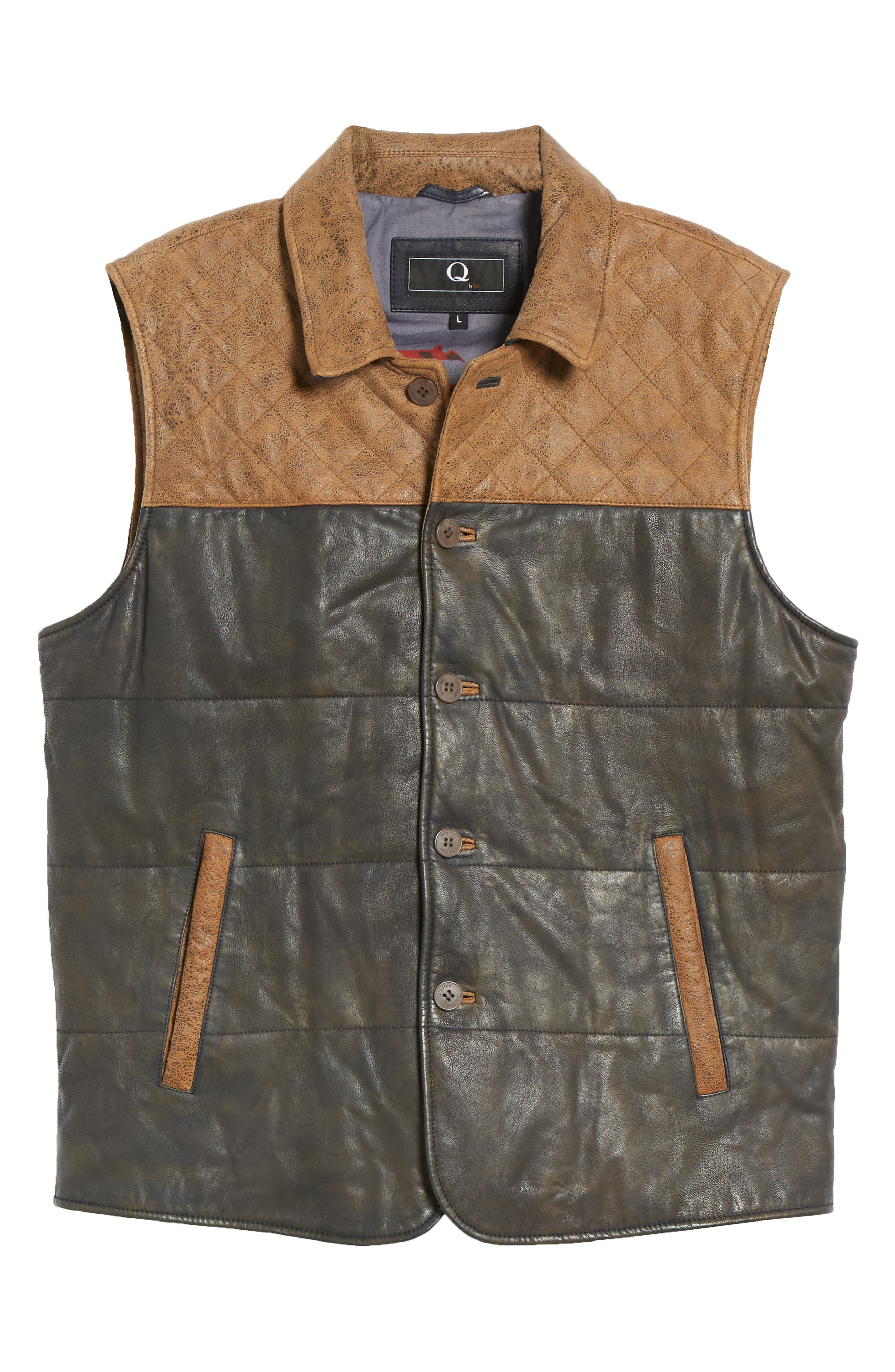 Colorblock Quilted Leather Vest,                             Alternate thumbnail 6, color,                             TAN