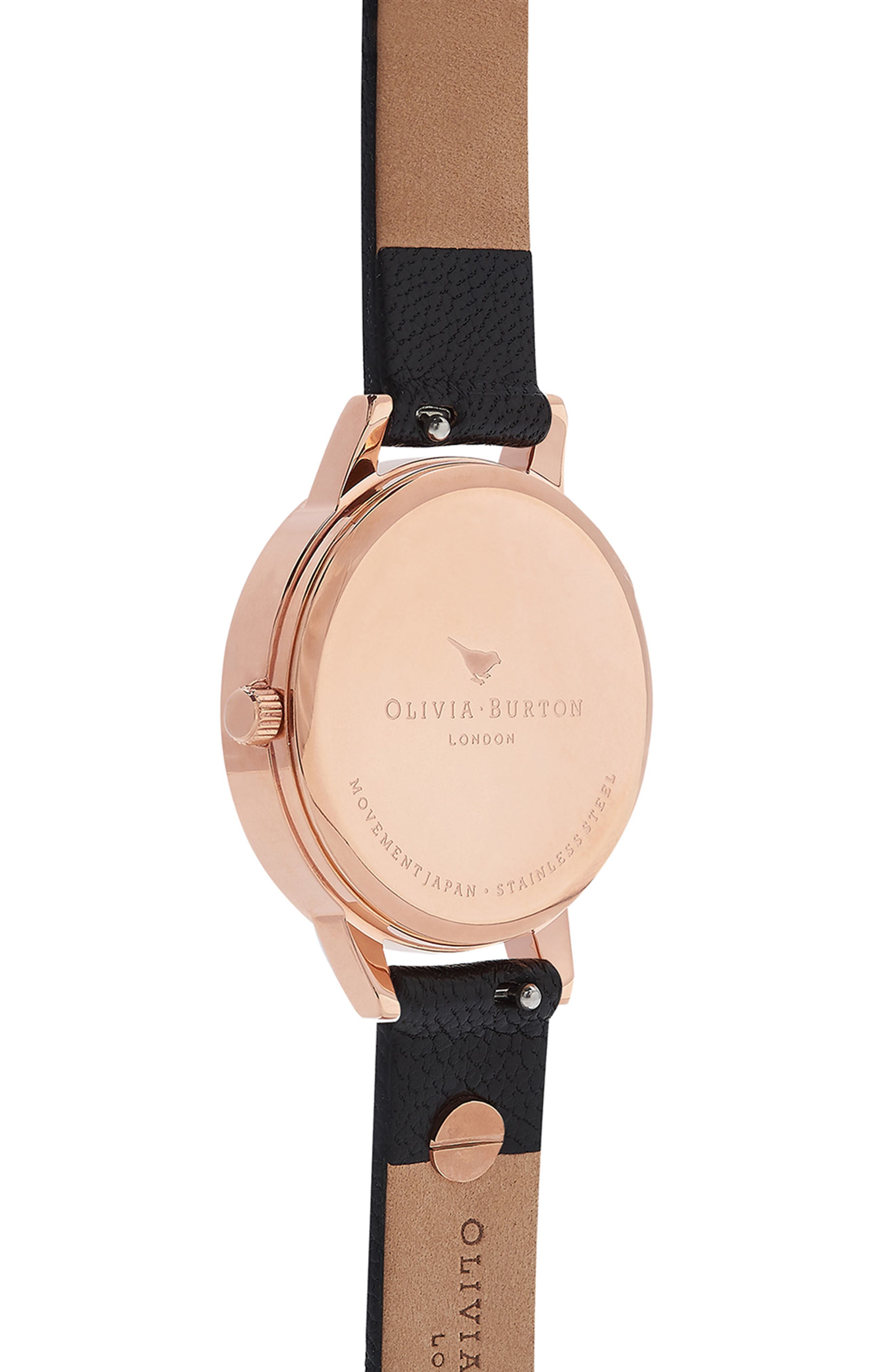 Vintage Bow Leather Strap Watch, 30mm,                             Alternate thumbnail 3, color,                             BLACK/ ROSE GOLD