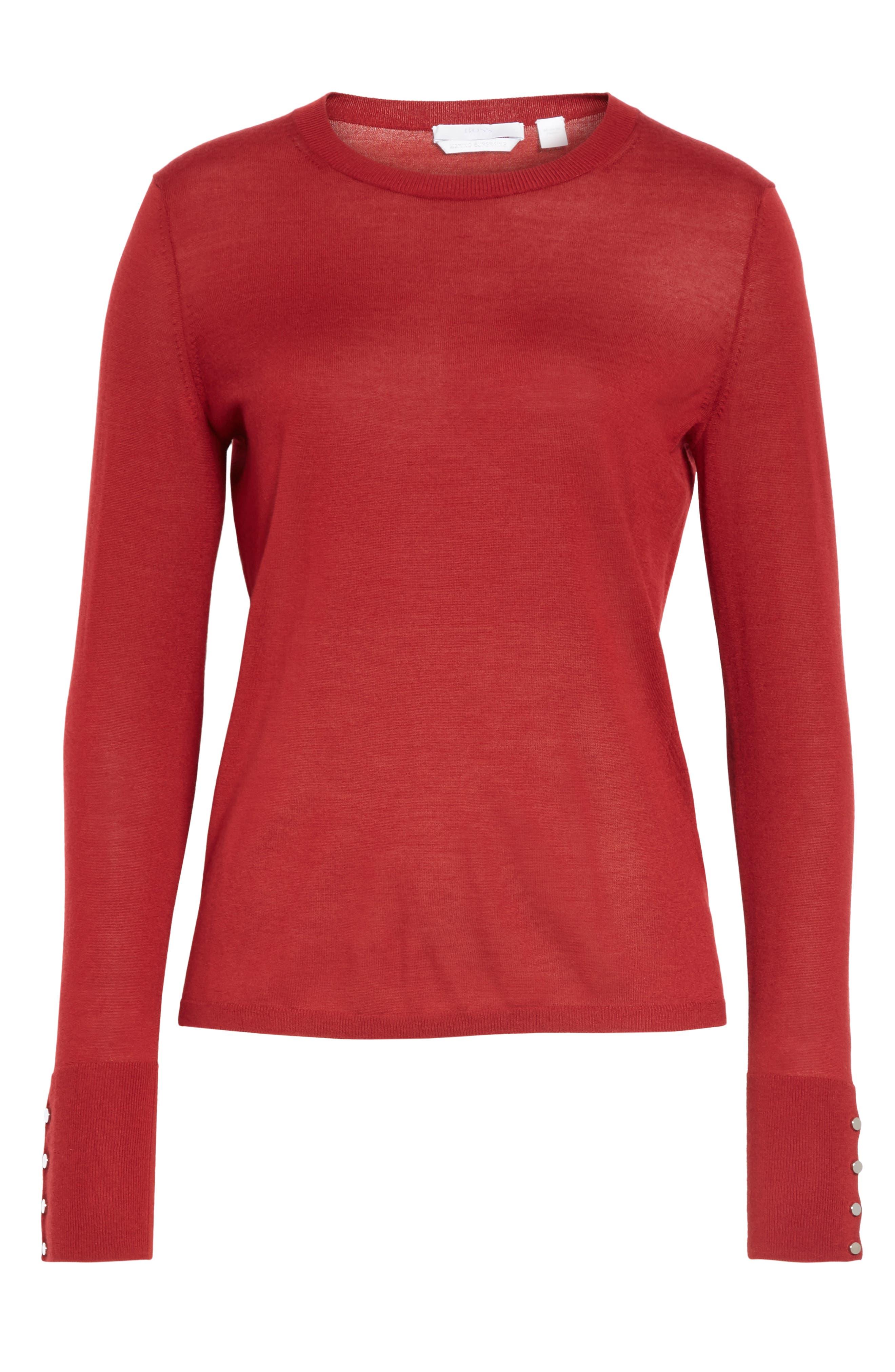 Frankie Cuff Detail Wool Sweater,                             Alternate thumbnail 6, color,                             DARK RED