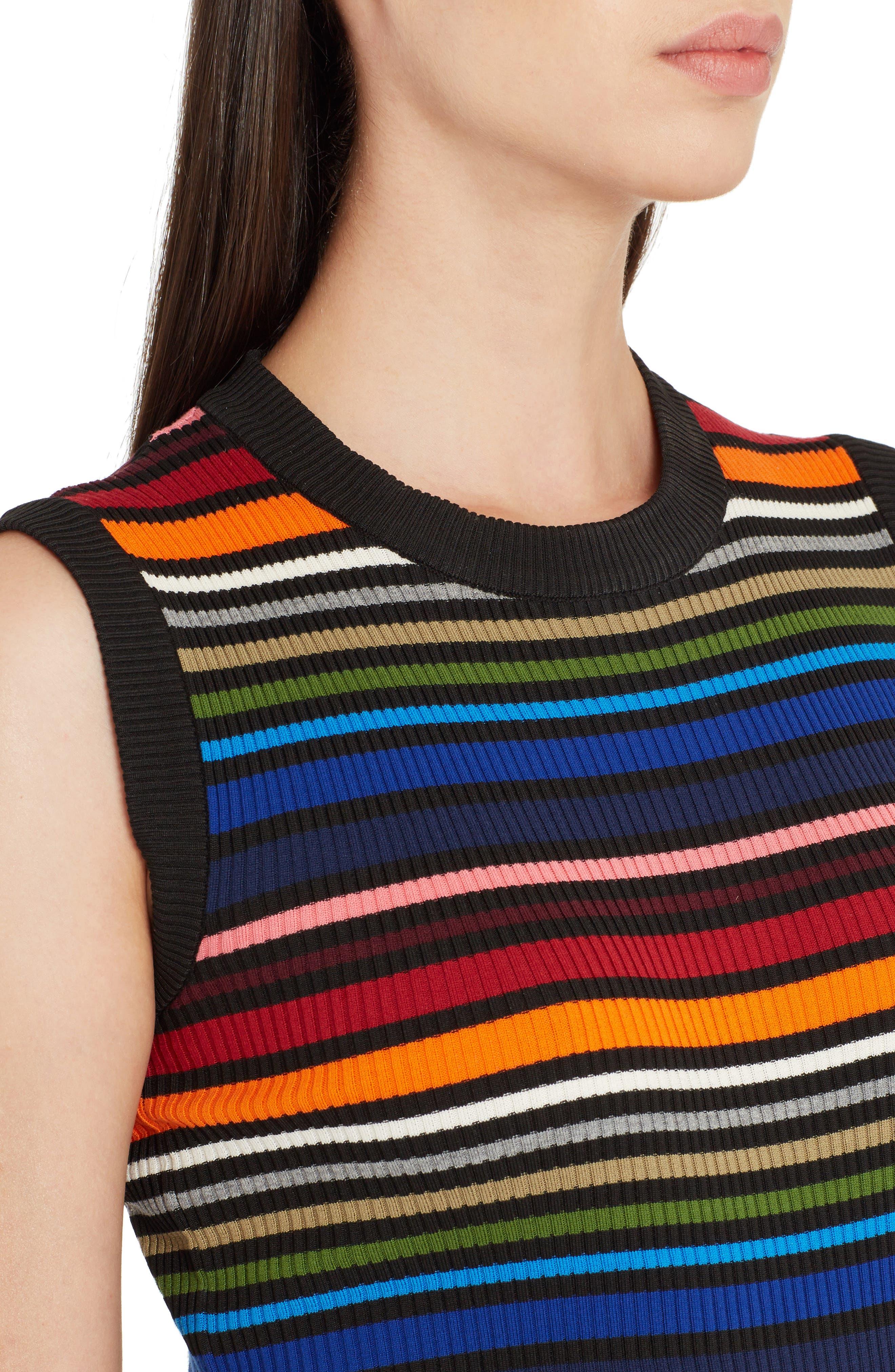Stripe Sleeveless Sweater,                             Alternate thumbnail 4, color,                             010
