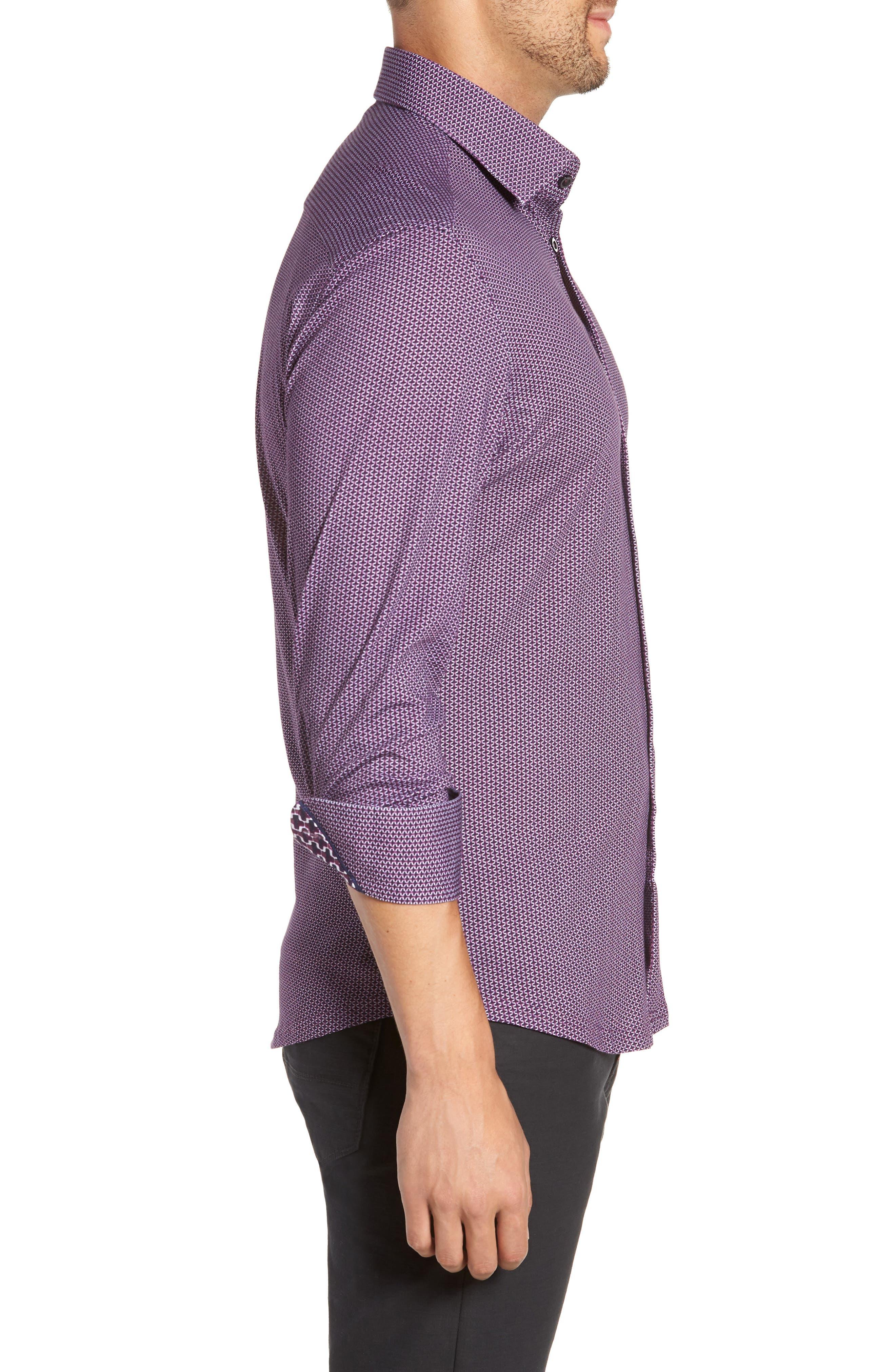 Trim Fit Knit Sport Shirt,                             Alternate thumbnail 4, color,                             PURPLE