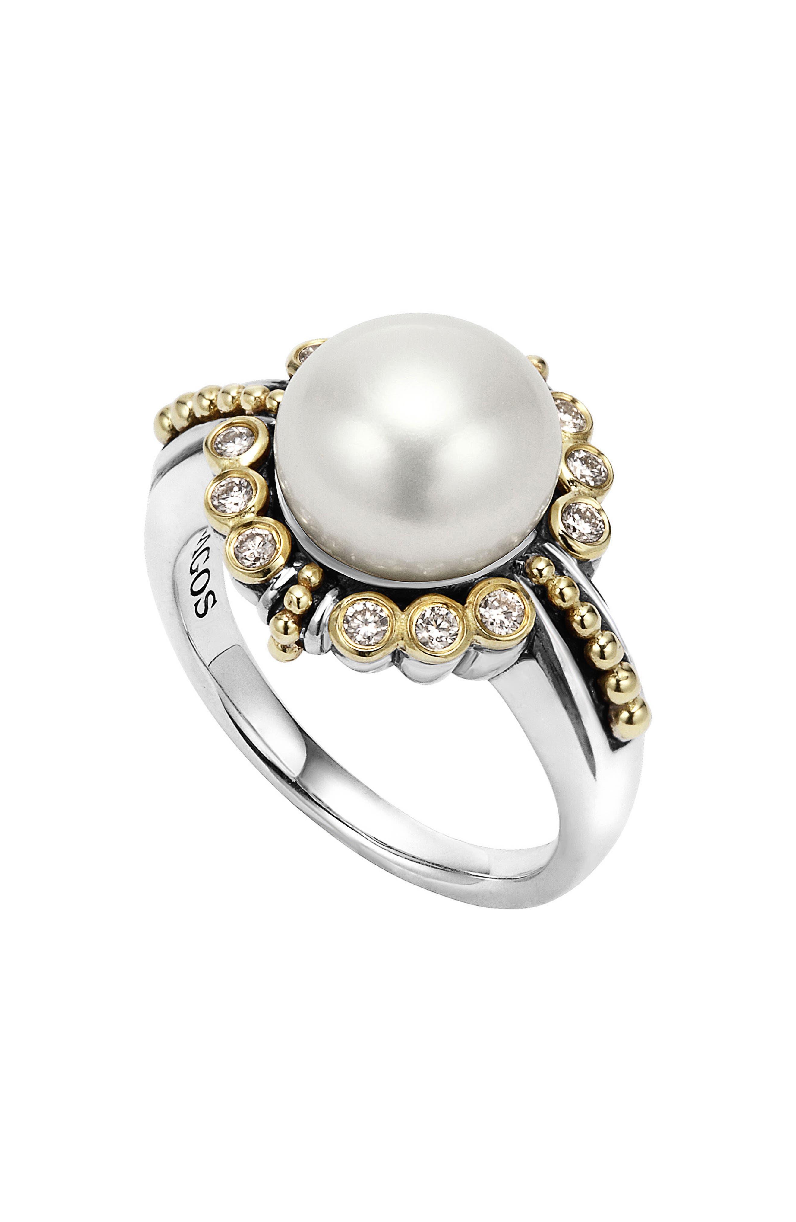 Luna Diamond & Pearl Ring,                             Main thumbnail 1, color,                             040
