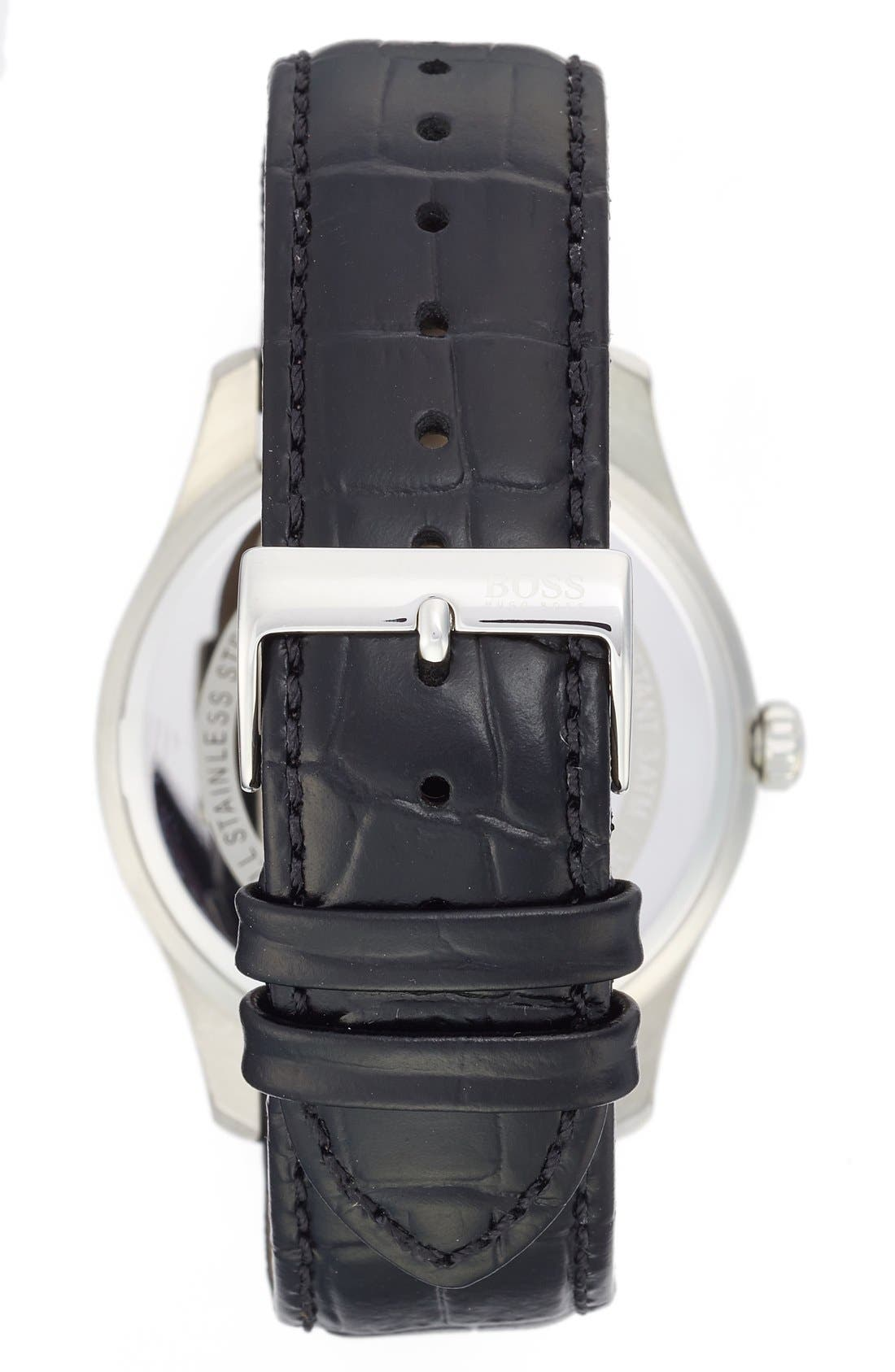 'Ambassador' Embossed Leather Strap Watch, 43mm,                             Alternate thumbnail 4, color,