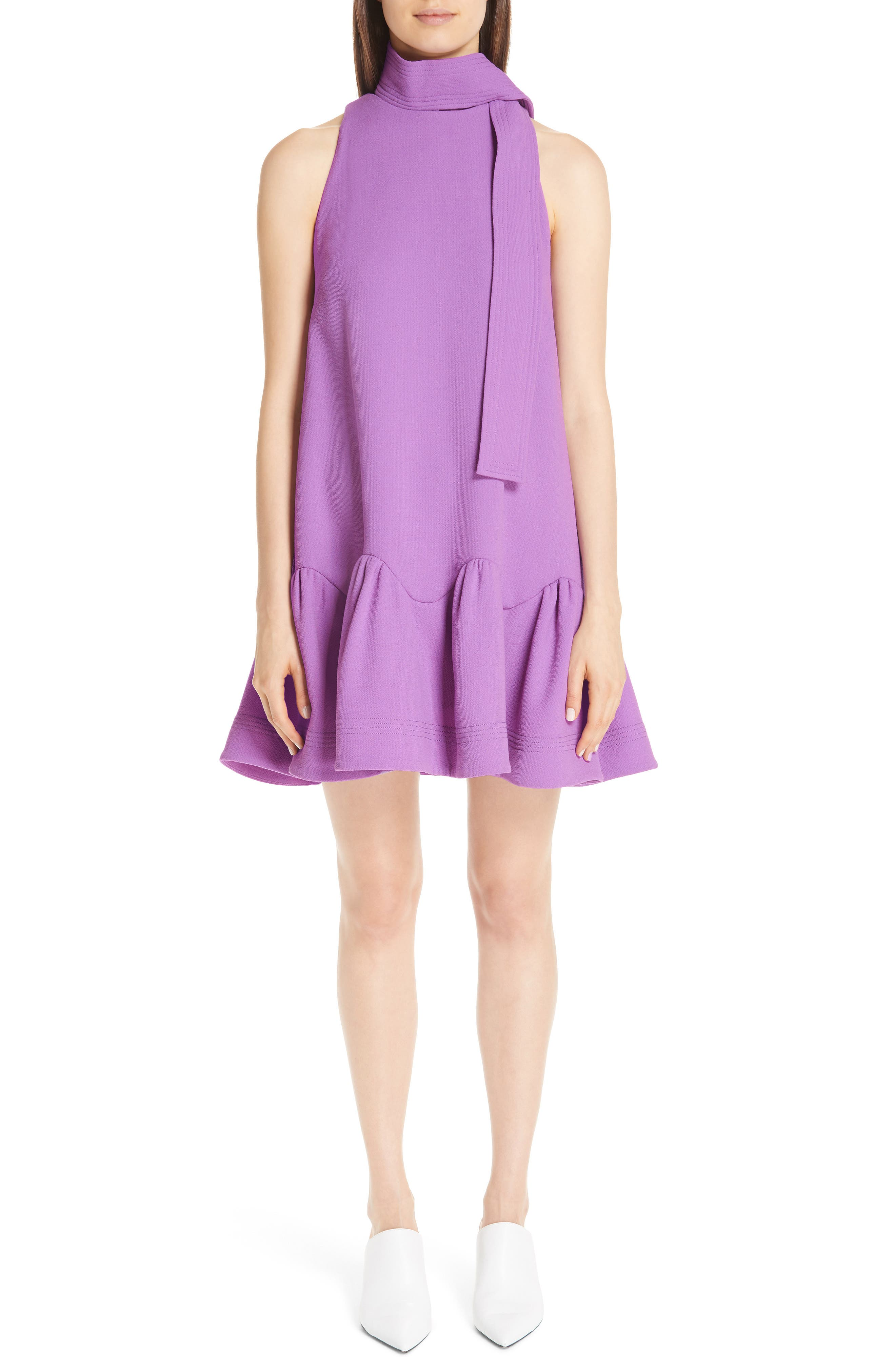 LELA ROSE Detachable-Collar Sleeveless Flounce-Hem Trapeze Dress in Lavender