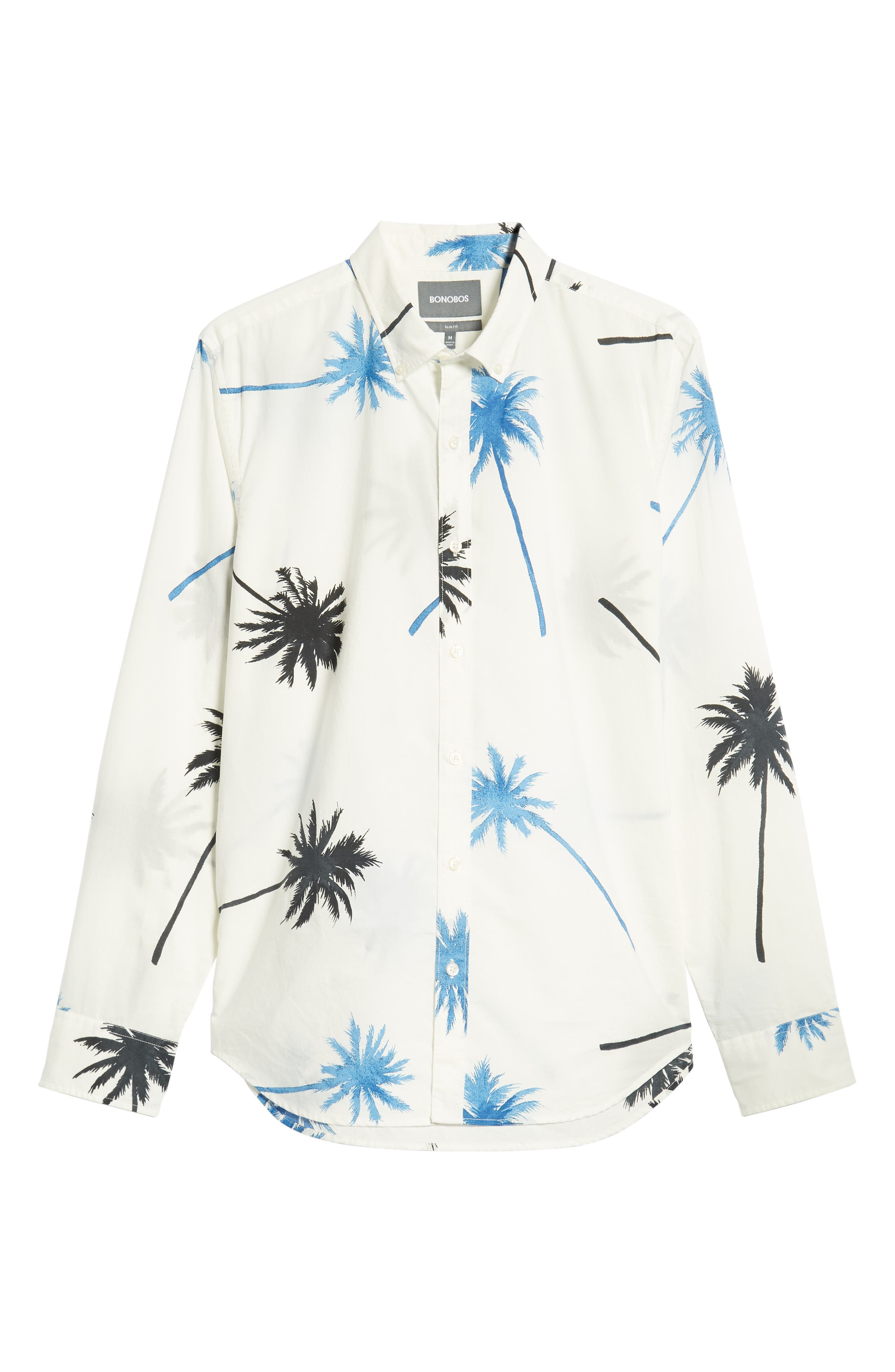 Summerweight Slim Fit Palm Print Sport Shirt,                             Alternate thumbnail 5, color,                             PALM TREE VIEW - GALAXY BLUE