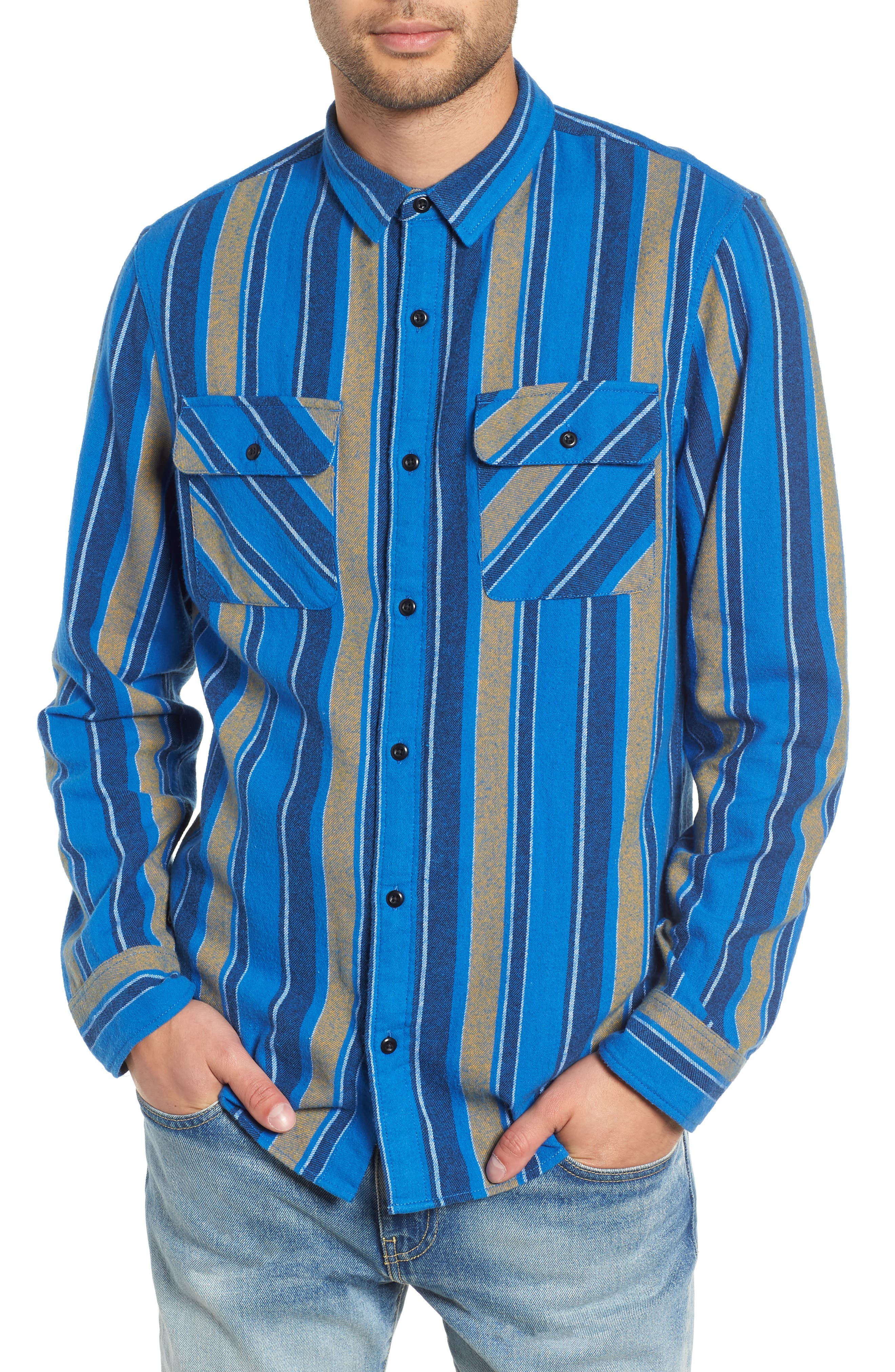 Stripe Flannel Shirt,                         Main,                         color, 420