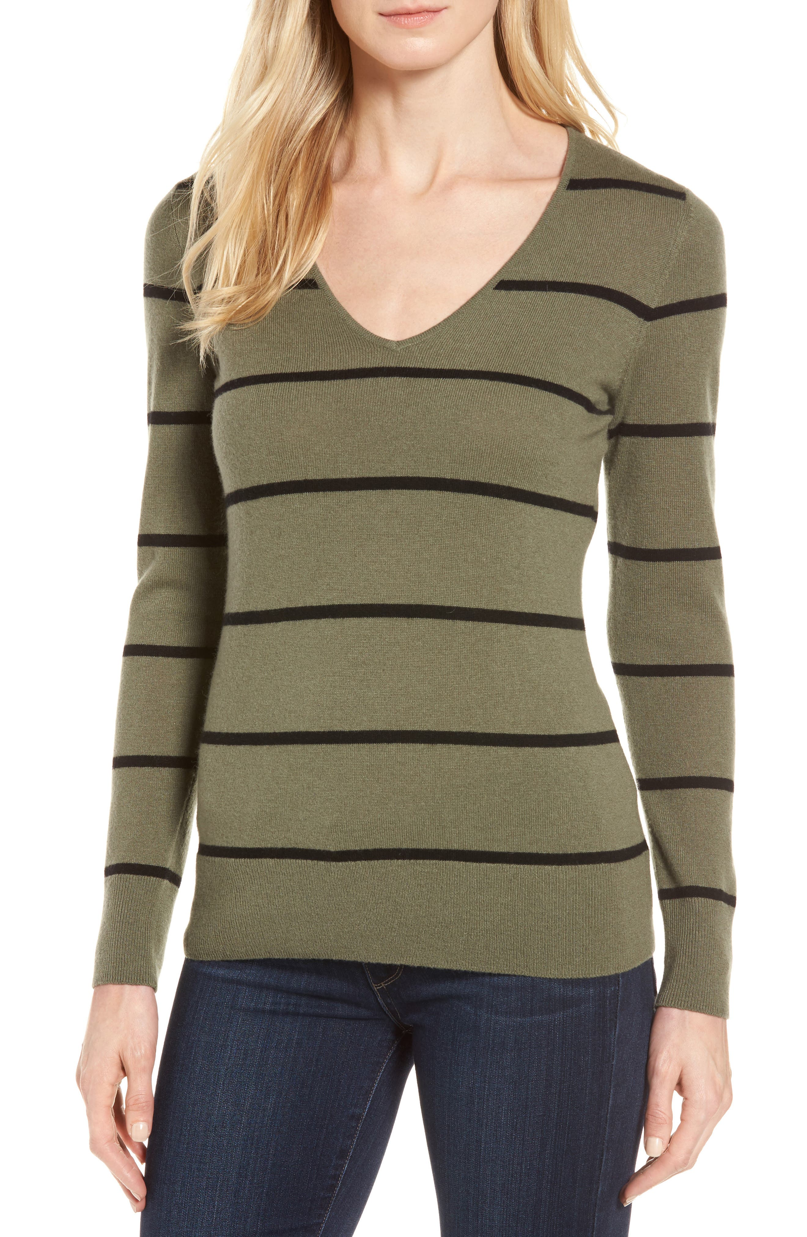 Stripe Cashmere Sweater,                         Main,                         color, 315