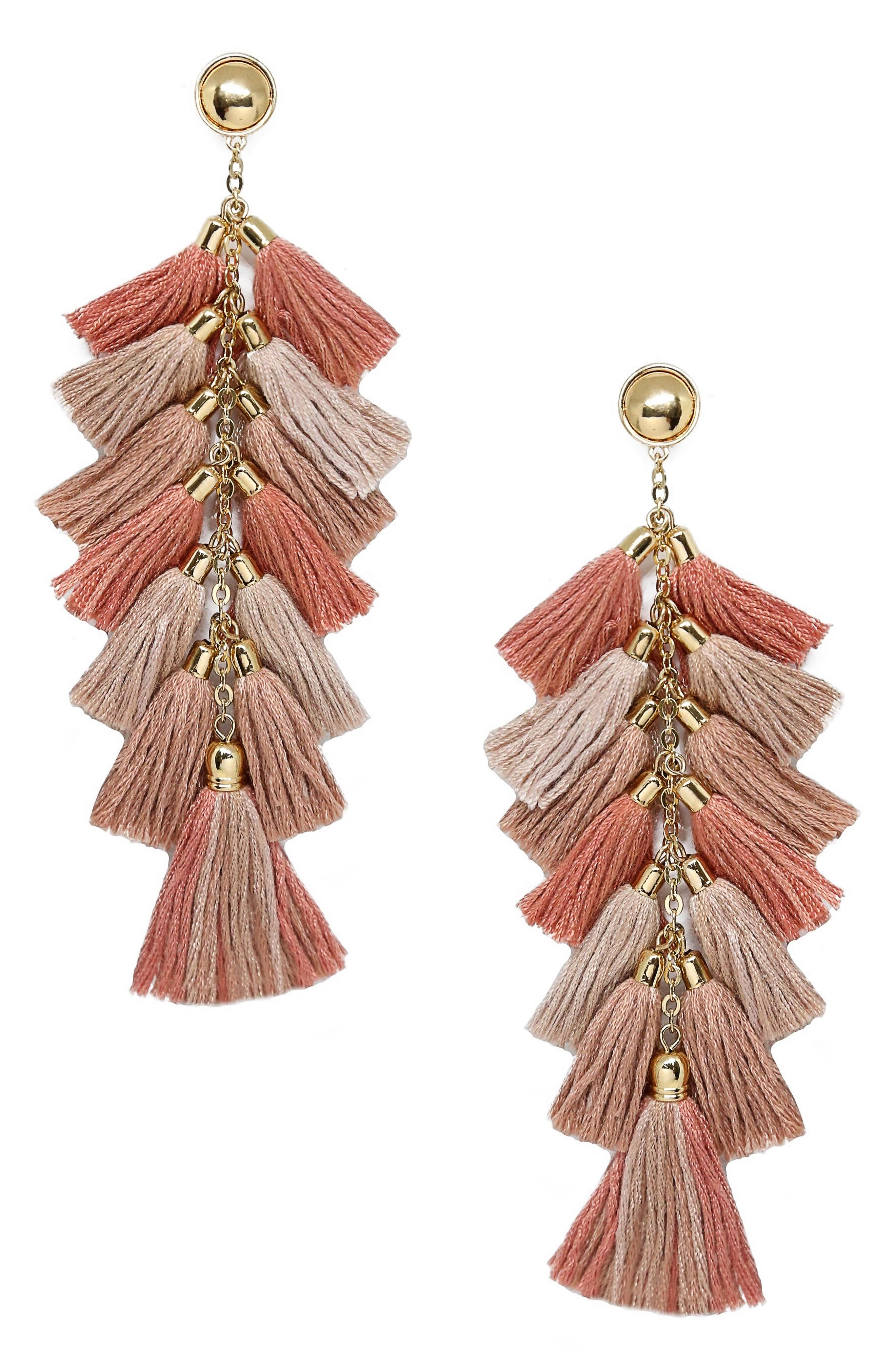 Multi Tassel Statement Earrings,                             Main thumbnail 1, color,                             250