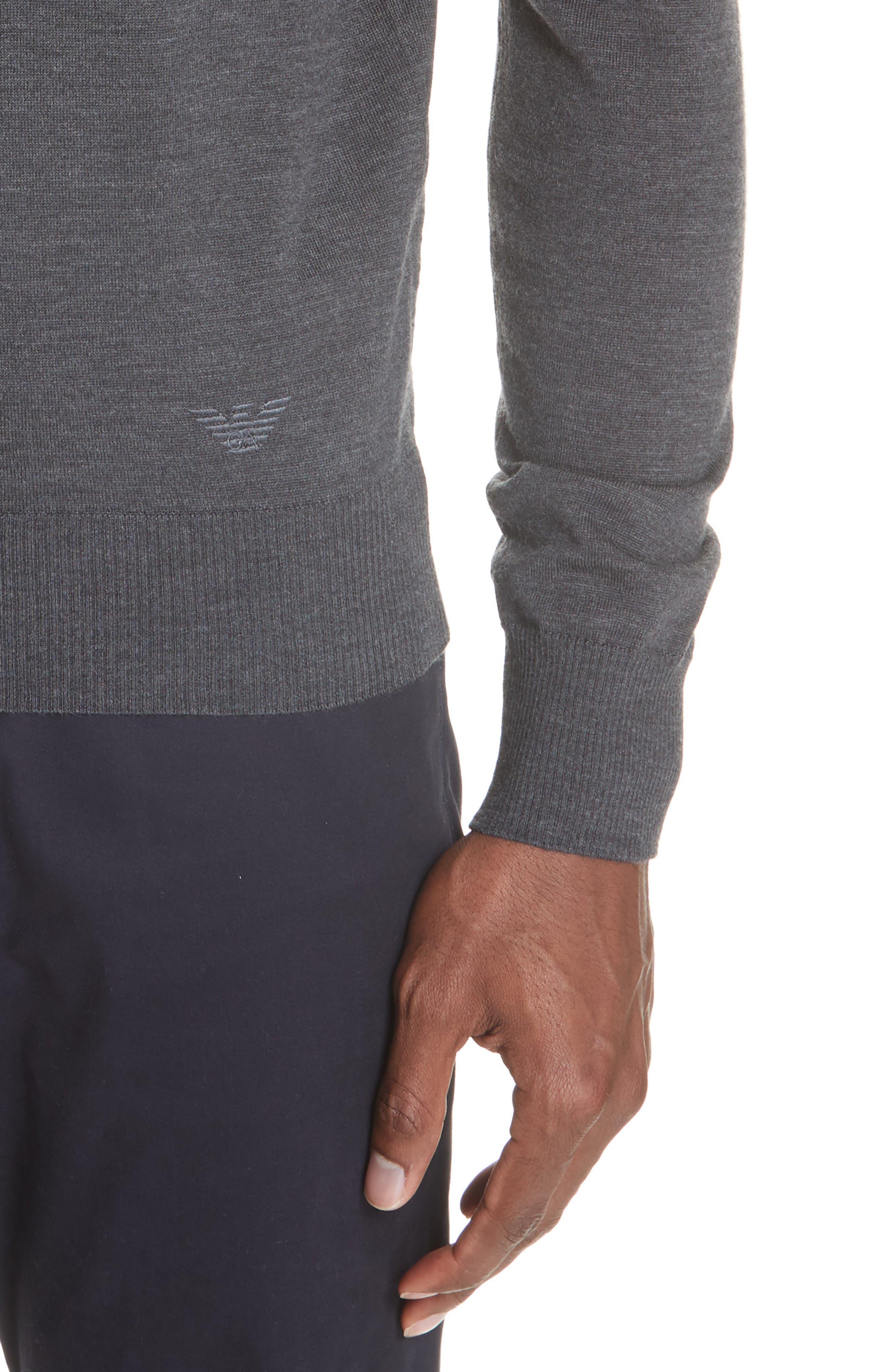 V-Neck Wool Sweater,                             Alternate thumbnail 4, color,                             GREY