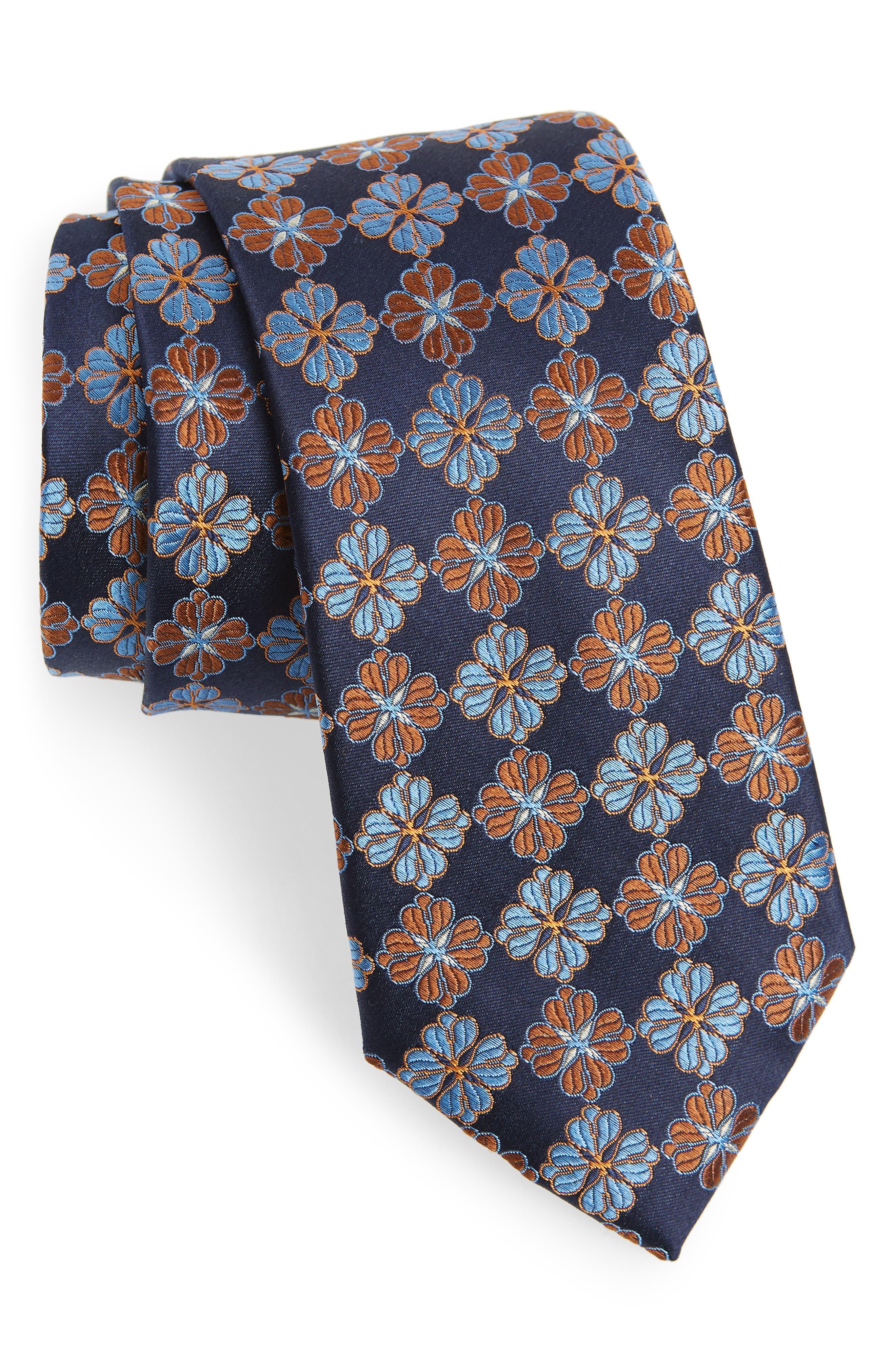 Cole Floral Silk Tie,                         Main,                         color, TRUE NAVY