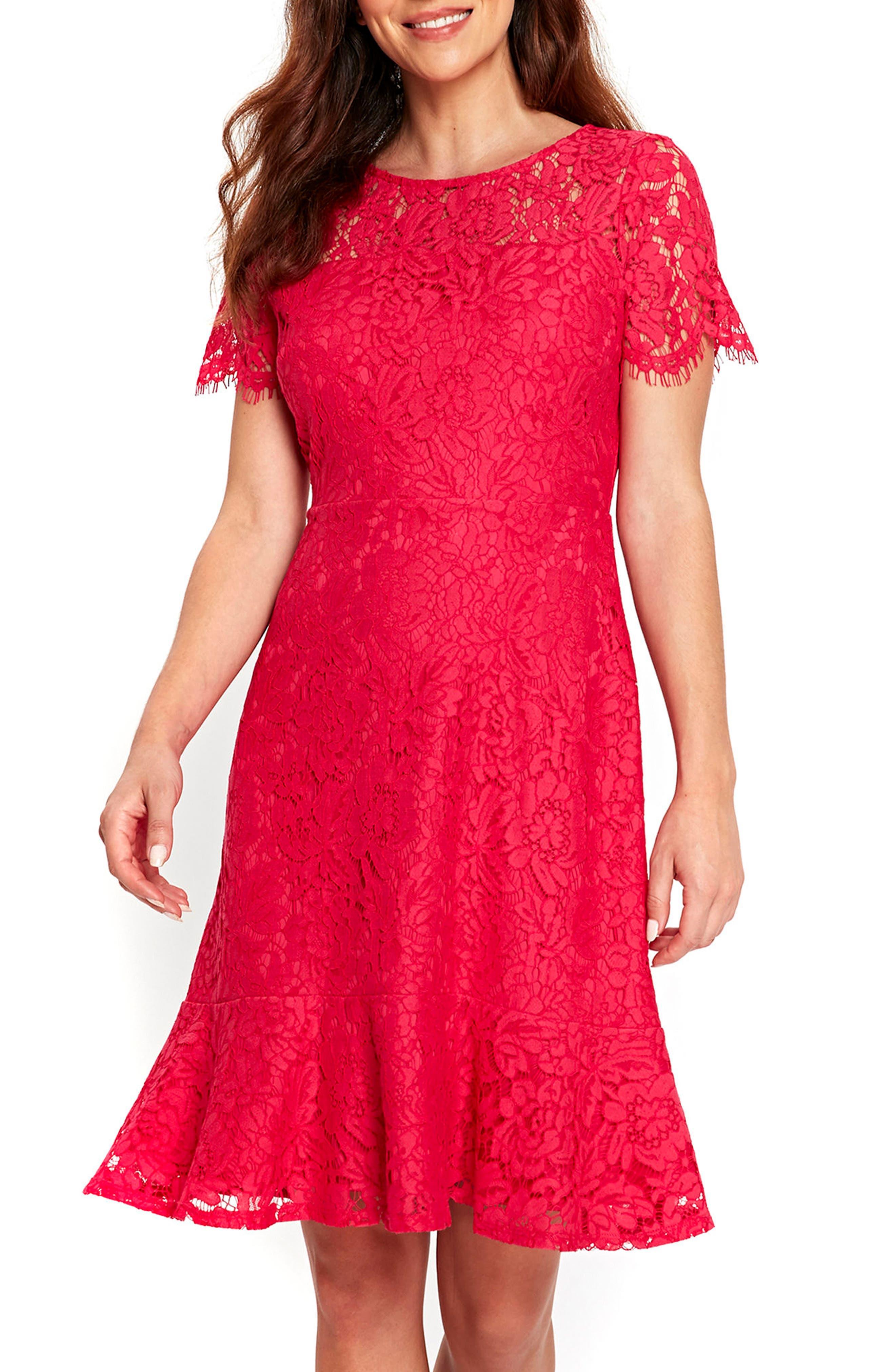 Lace Peplum Hem Dress,                             Main thumbnail 1, color,                             650