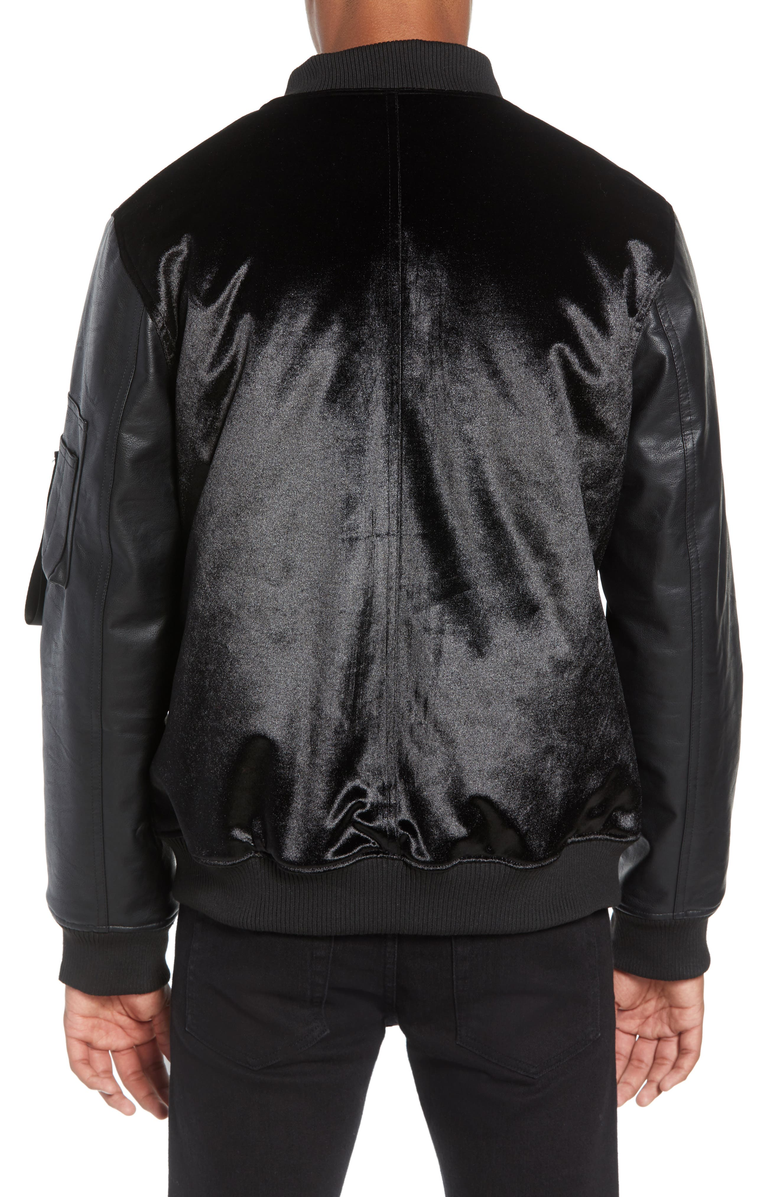 Velvet Bomber Jacket with Faux Leather Sleeves,                             Alternate thumbnail 2, color,                             BLACK